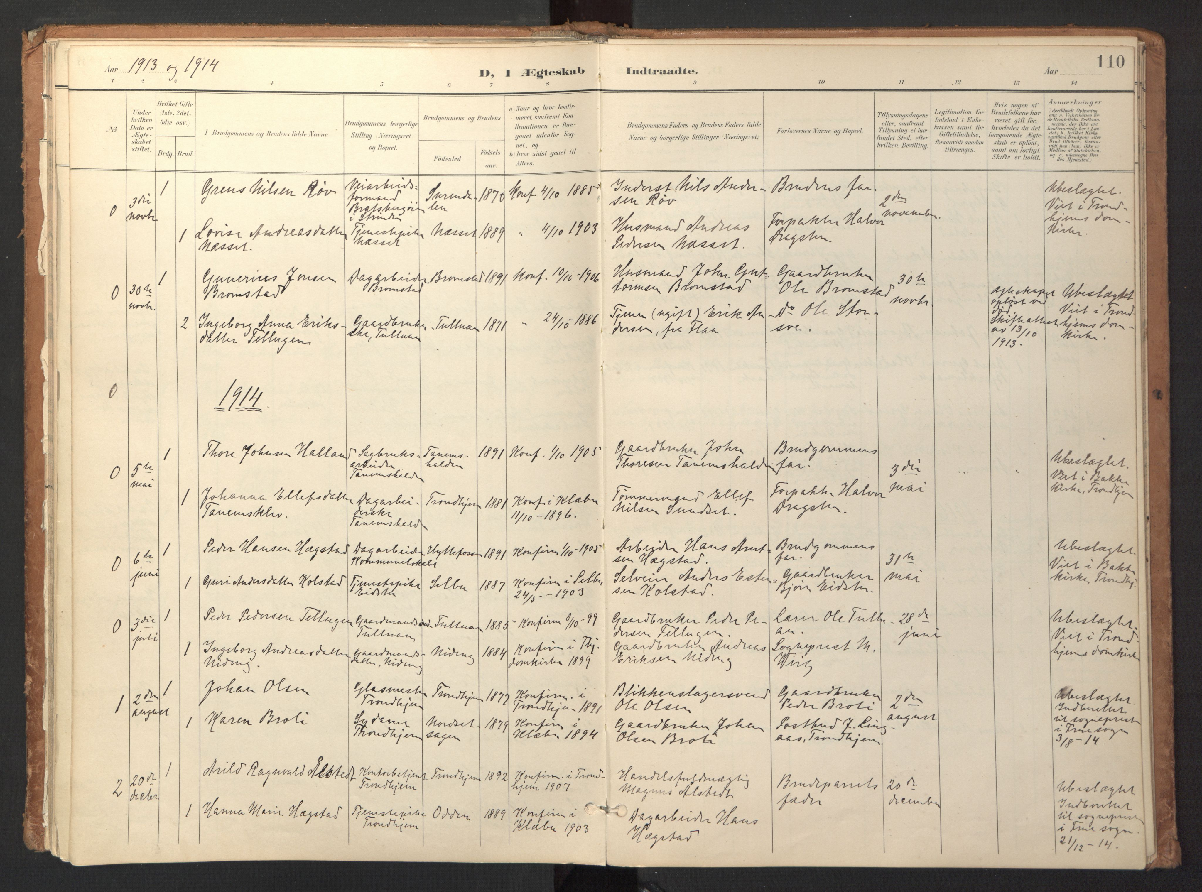 SAT, Ministerialprotokoller, klokkerbøker og fødselsregistre - Sør-Trøndelag, 618/L0448: Ministerialbok nr. 618A11, 1898-1916, s. 110