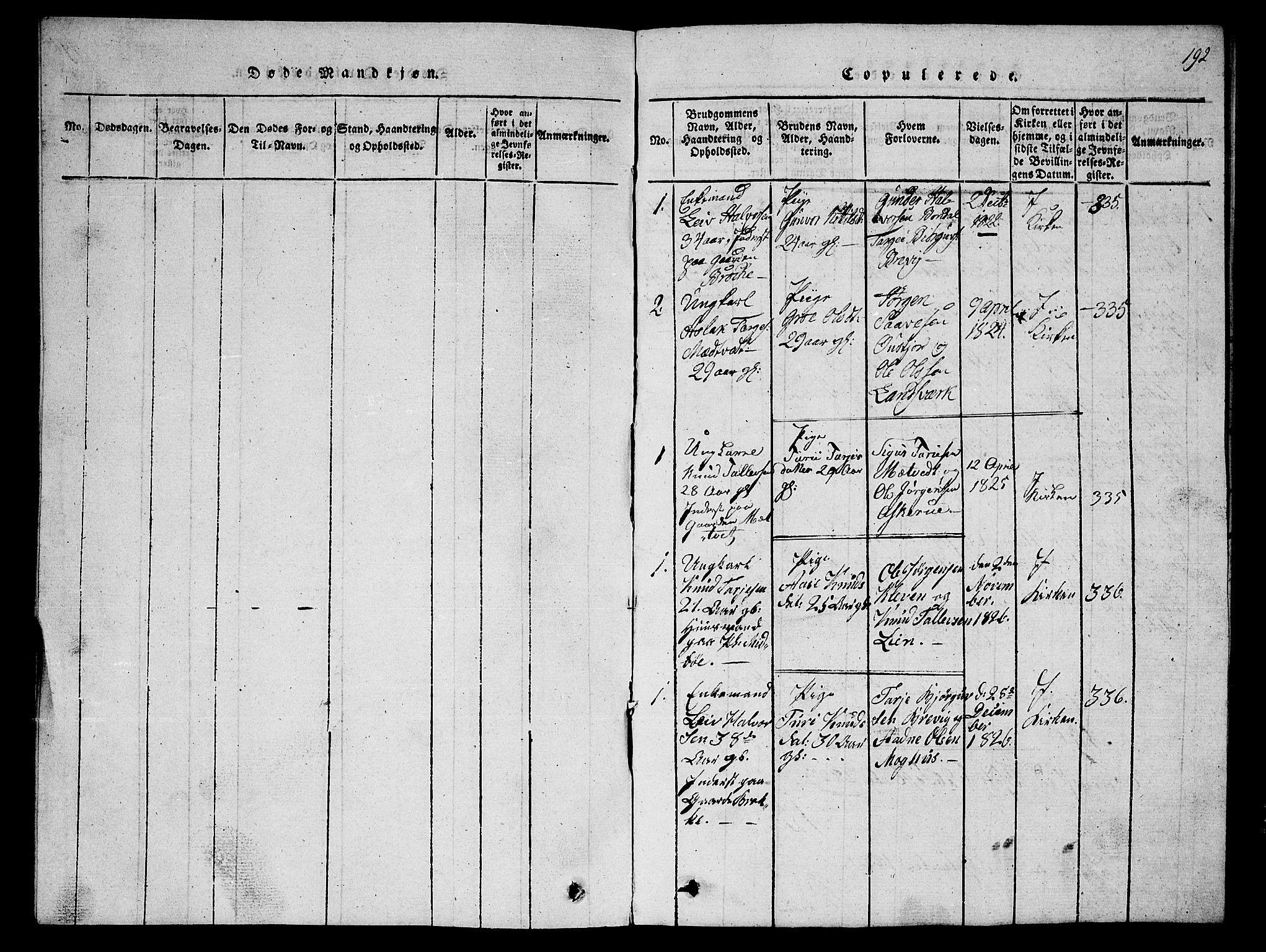 SAKO, Fyresdal kirkebøker, G/Ga/L0002: Klokkerbok nr. I 2, 1815-1857, s. 192