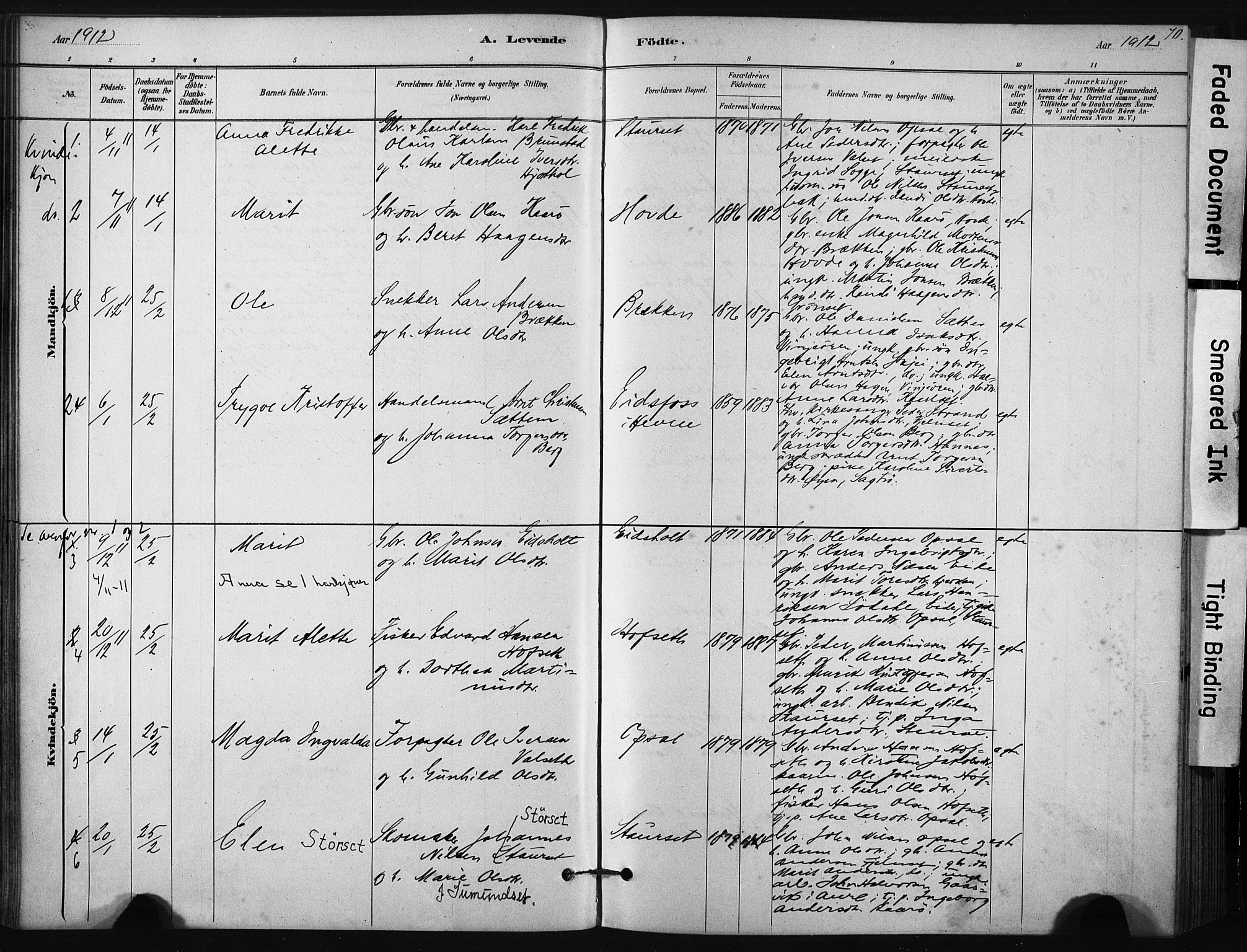 SAT, Ministerialprotokoller, klokkerbøker og fødselsregistre - Sør-Trøndelag, 631/L0512: Ministerialbok nr. 631A01, 1879-1912, s. 70