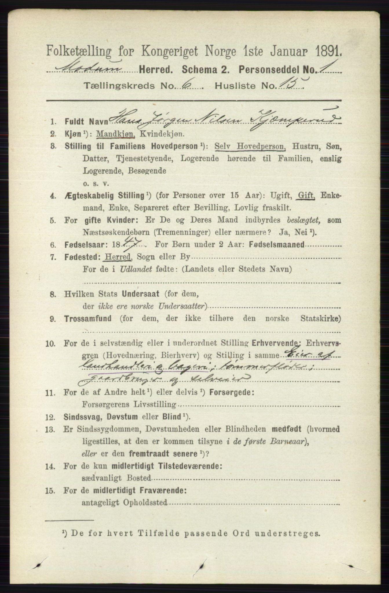 RA, Folketelling 1891 for 0623 Modum herred, 1891, s. 2234