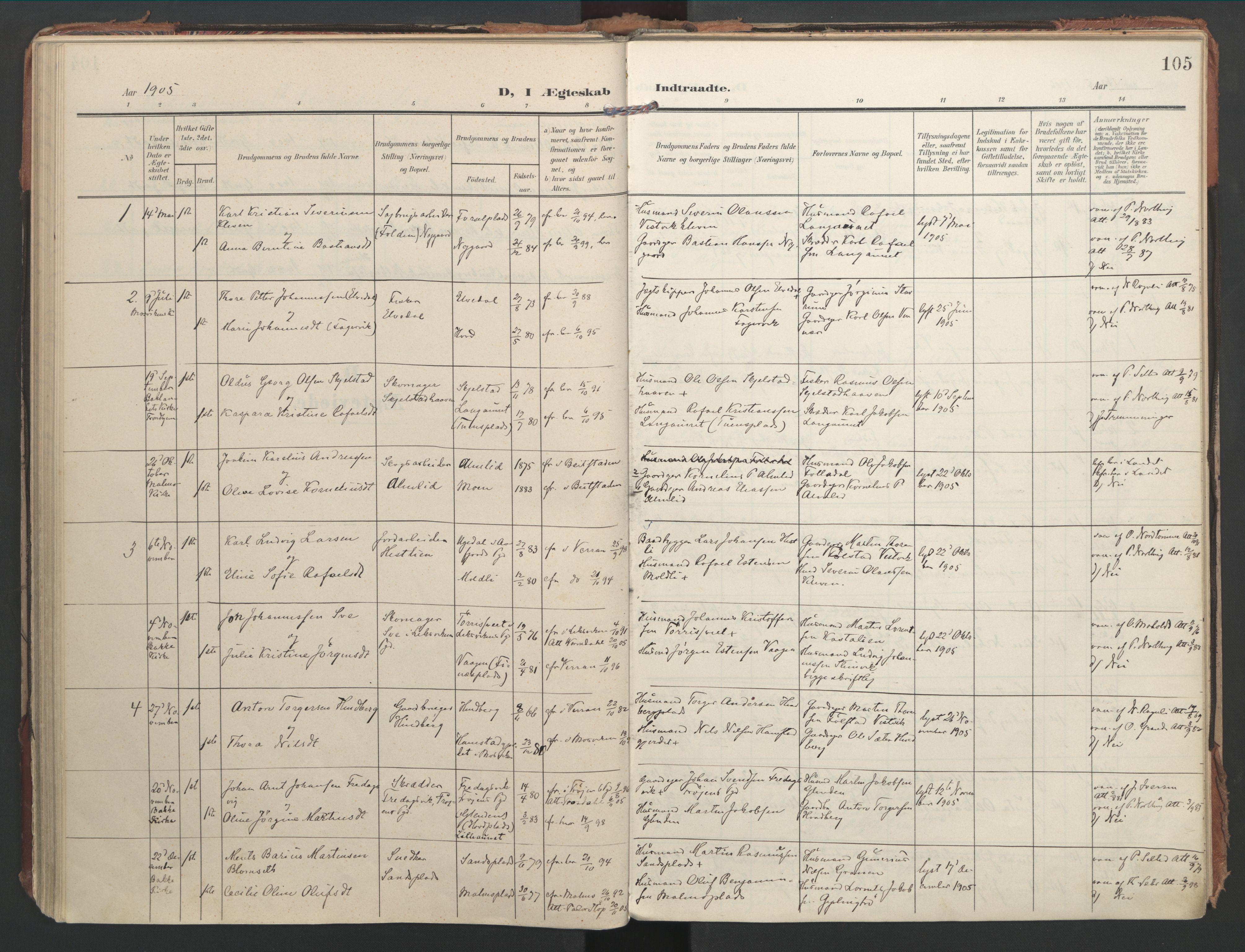 SAT, Ministerialprotokoller, klokkerbøker og fødselsregistre - Nord-Trøndelag, 744/L0421: Ministerialbok nr. 744A05, 1905-1930, s. 105