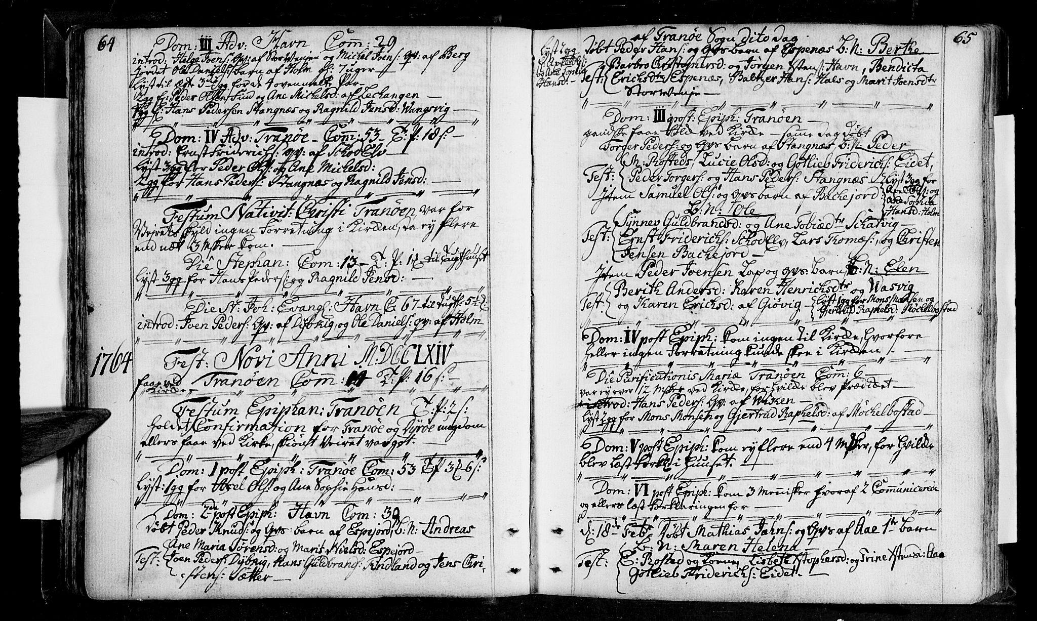 SATØ, Tranøy sokneprestkontor, I/Ia/Iaa/L0001kirke: Ministerialbok nr. 1, 1757-1773, s. 64-65