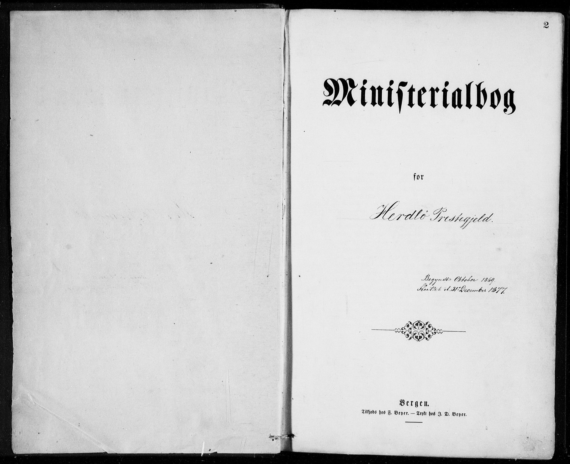 SAB, Herdla Sokneprestembete, H/Haa: Ministerialbok nr. A 2, 1869-1877, s. 2