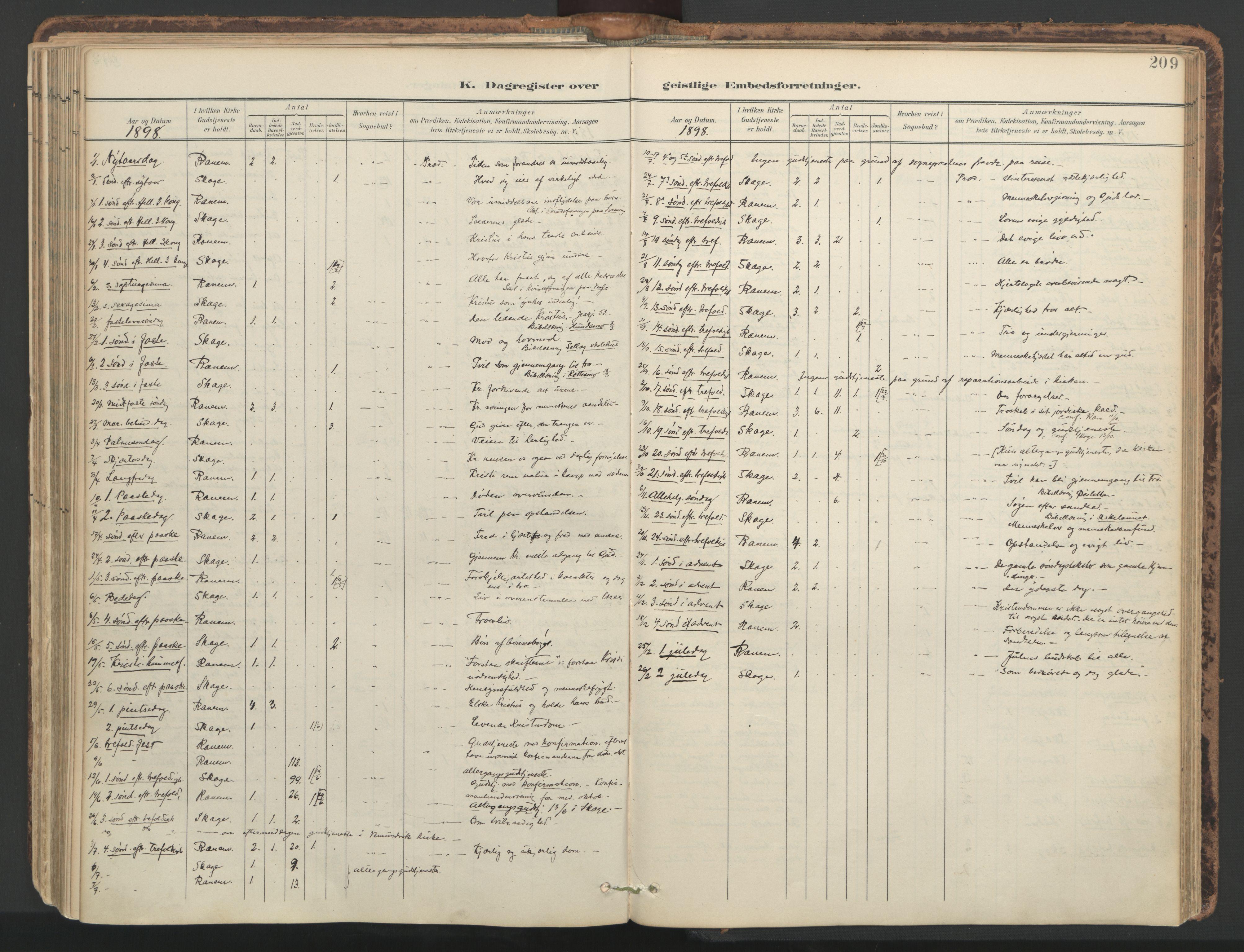 SAT, Ministerialprotokoller, klokkerbøker og fødselsregistre - Nord-Trøndelag, 764/L0556: Ministerialbok nr. 764A11, 1897-1924, s. 209