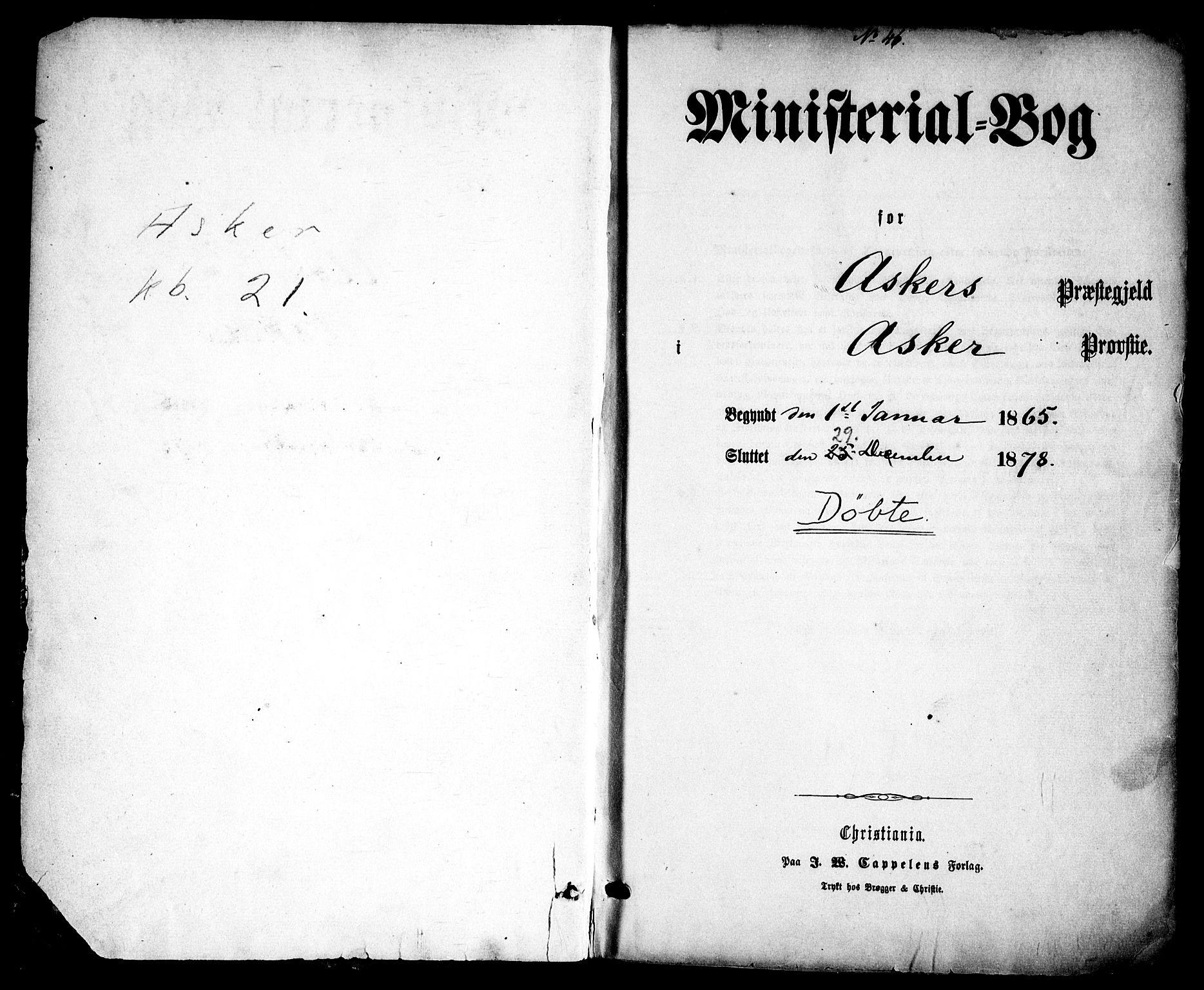 SAO, Asker prestekontor Kirkebøker, F/Fa/L0008: Ministerialbok nr. I 8, 1865-1878