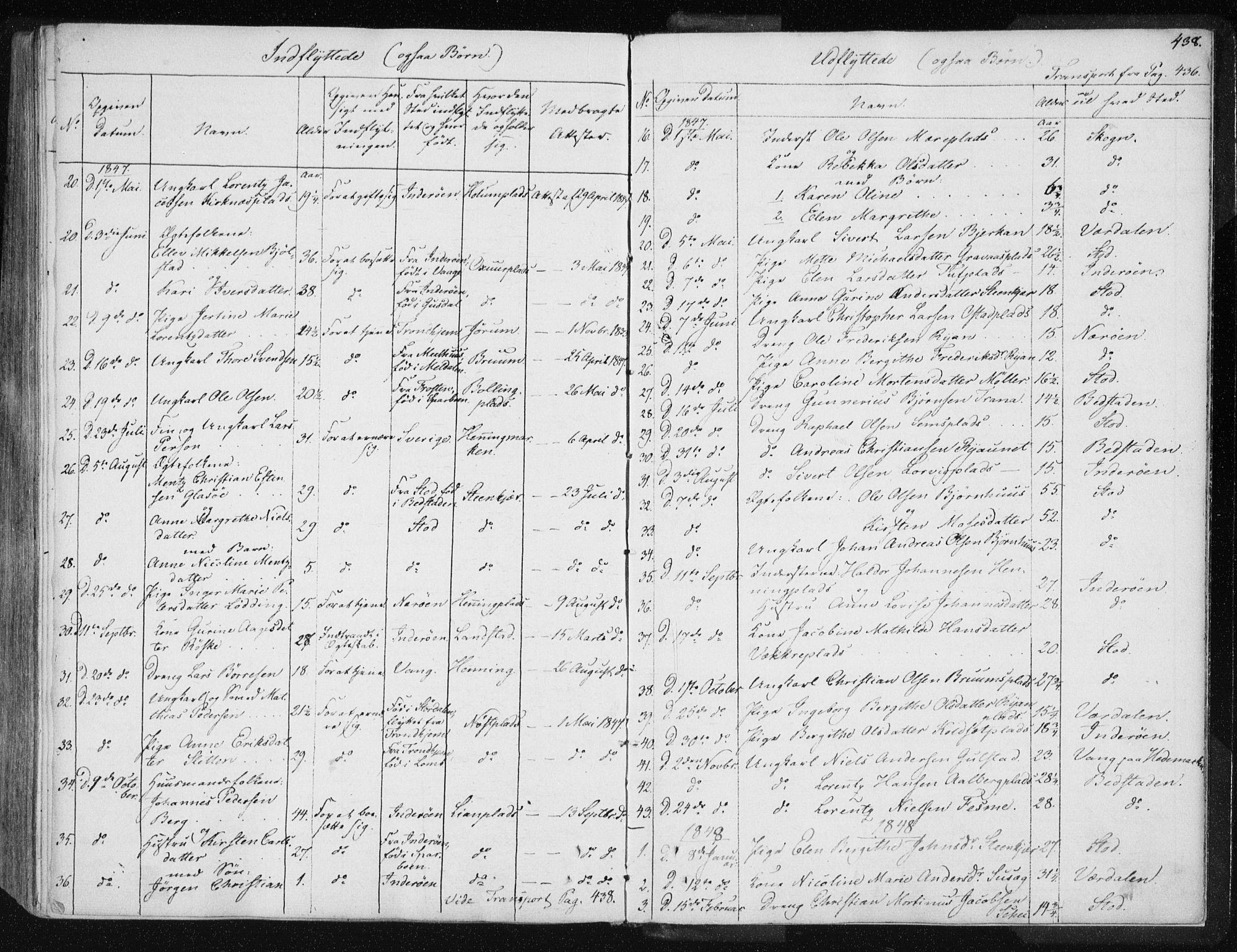 SAT, Ministerialprotokoller, klokkerbøker og fødselsregistre - Nord-Trøndelag, 735/L0339: Ministerialbok nr. 735A06 /1, 1836-1848, s. 438