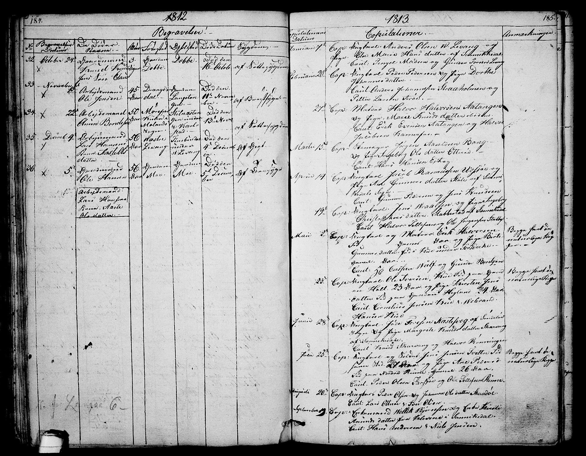 SAKO, Sannidal kirkebøker, F/Fa/L0003: Ministerialbok nr. 3, 1803-1813, s. 184-185