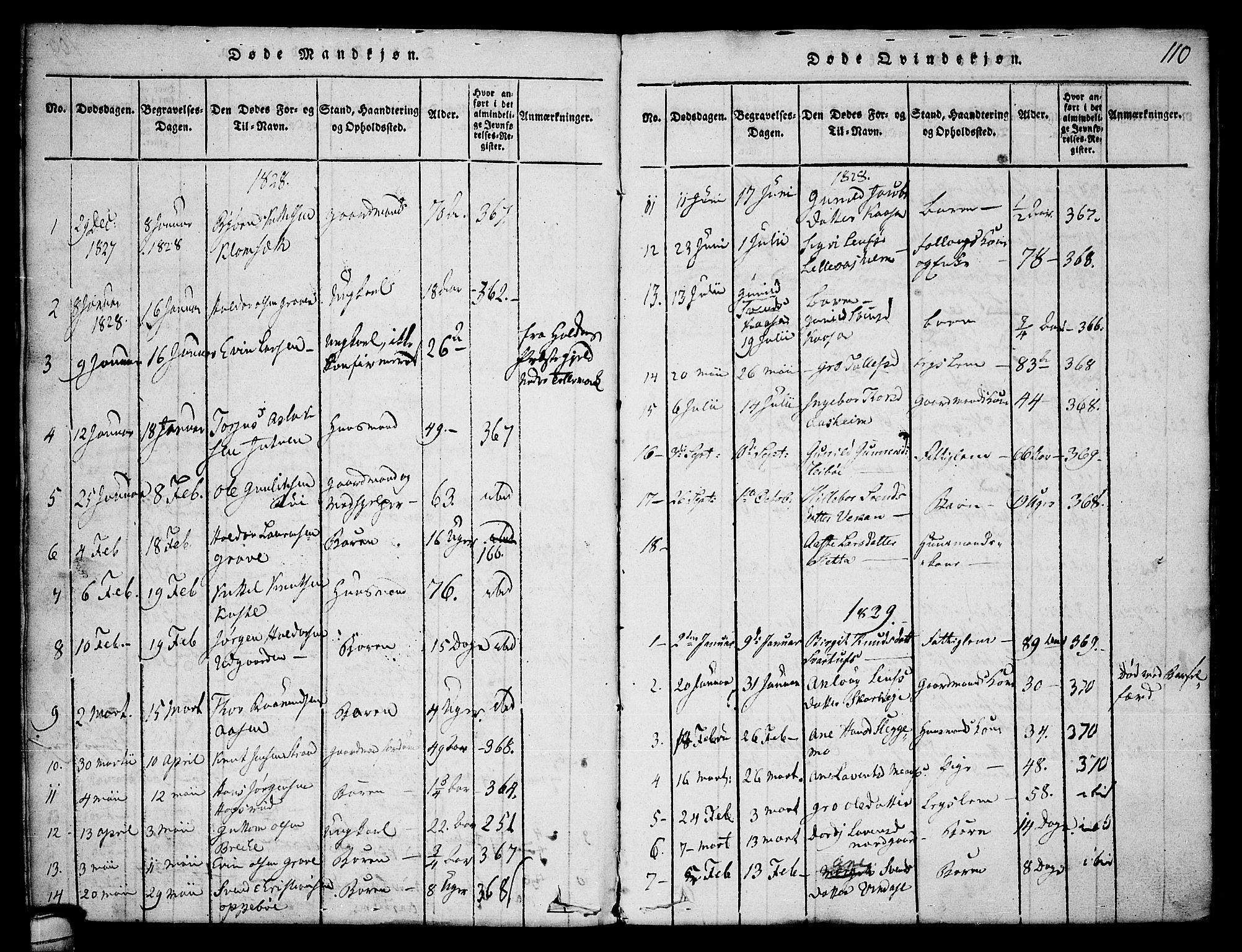SAKO, Seljord kirkebøker, F/Fa/L0010: Ministerialbok nr. I 10, 1815-1831, s. 110
