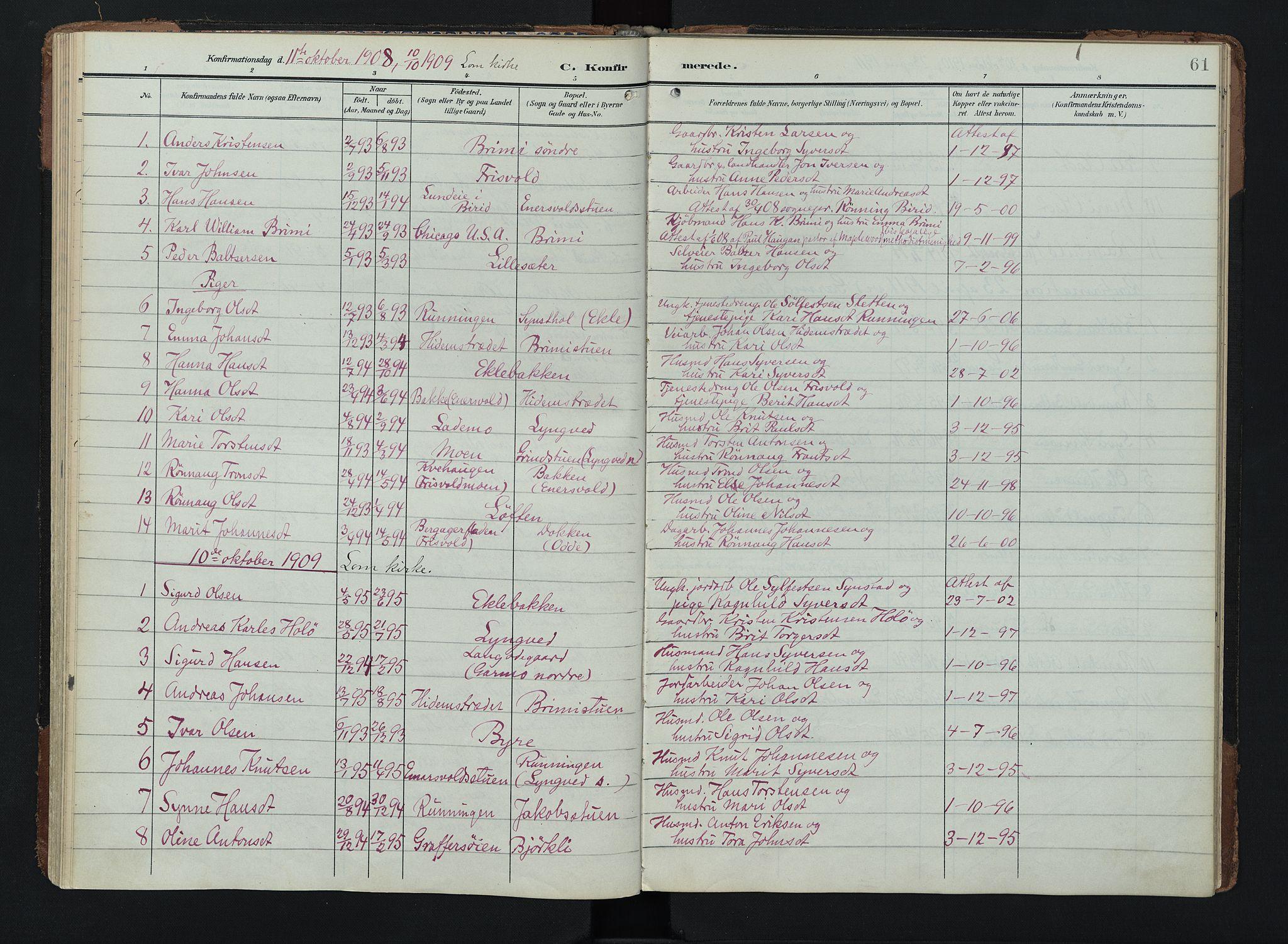 SAH, Lom prestekontor, K/L0011: Ministerialbok nr. 11, 1904-1928, s. 61