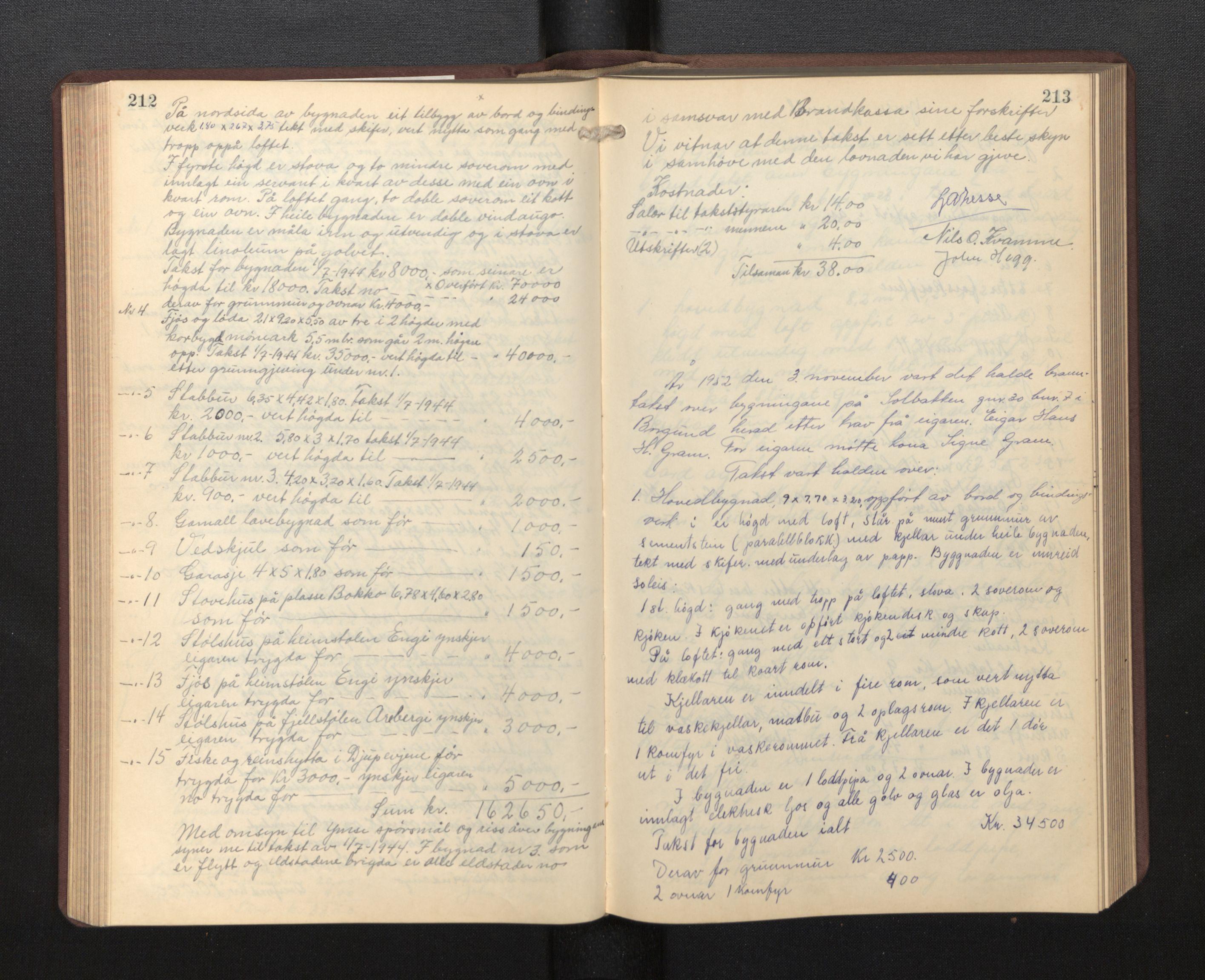 SAB, Lensmannen i Borgund, 0012/L0002: Branntakstprotokoll, 1929-1933, s. 212-213