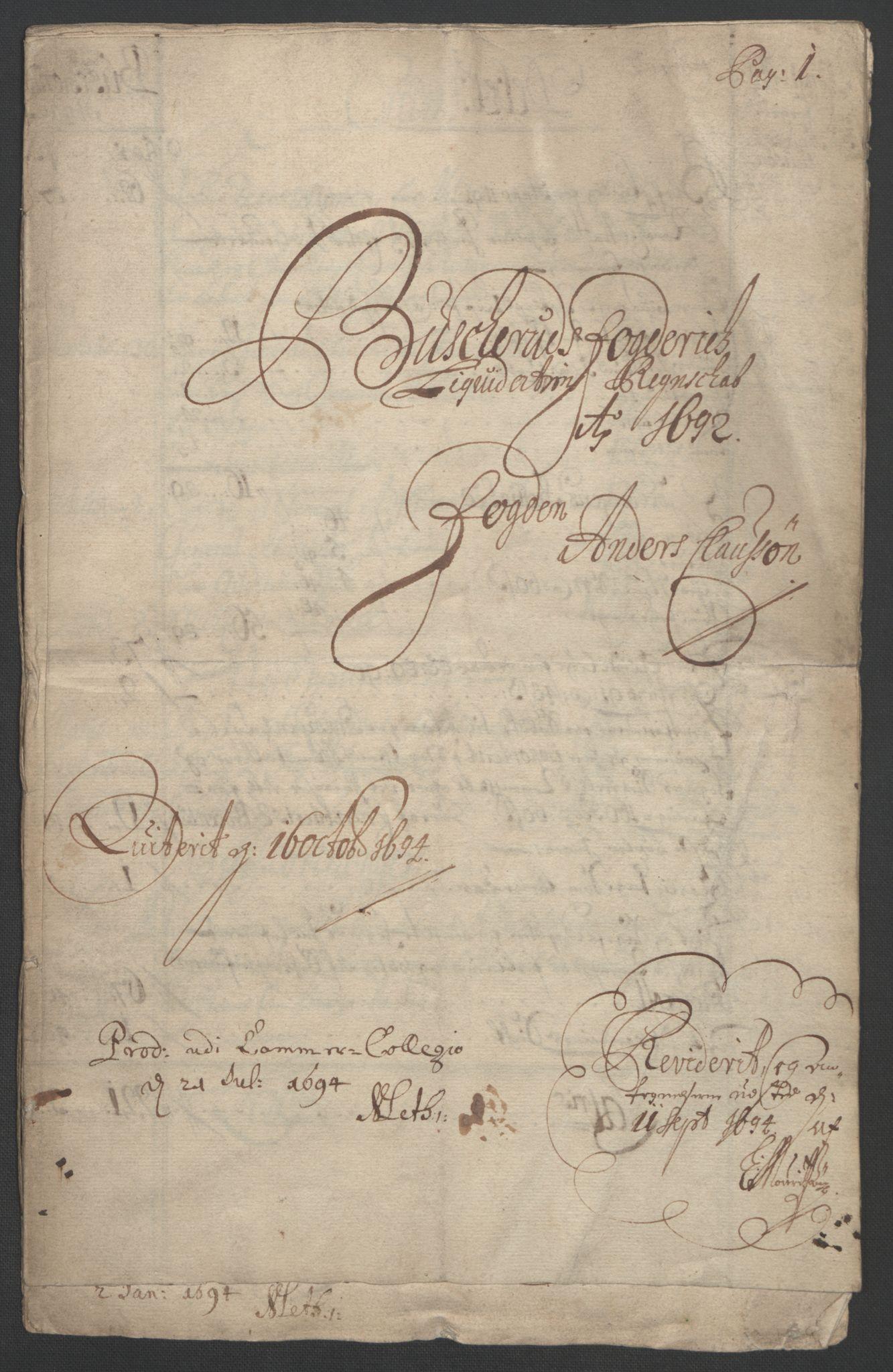 RA, Rentekammeret inntil 1814, Reviderte regnskaper, Fogderegnskap, R25/L1681: Fogderegnskap Buskerud, 1691-1692, s. 306