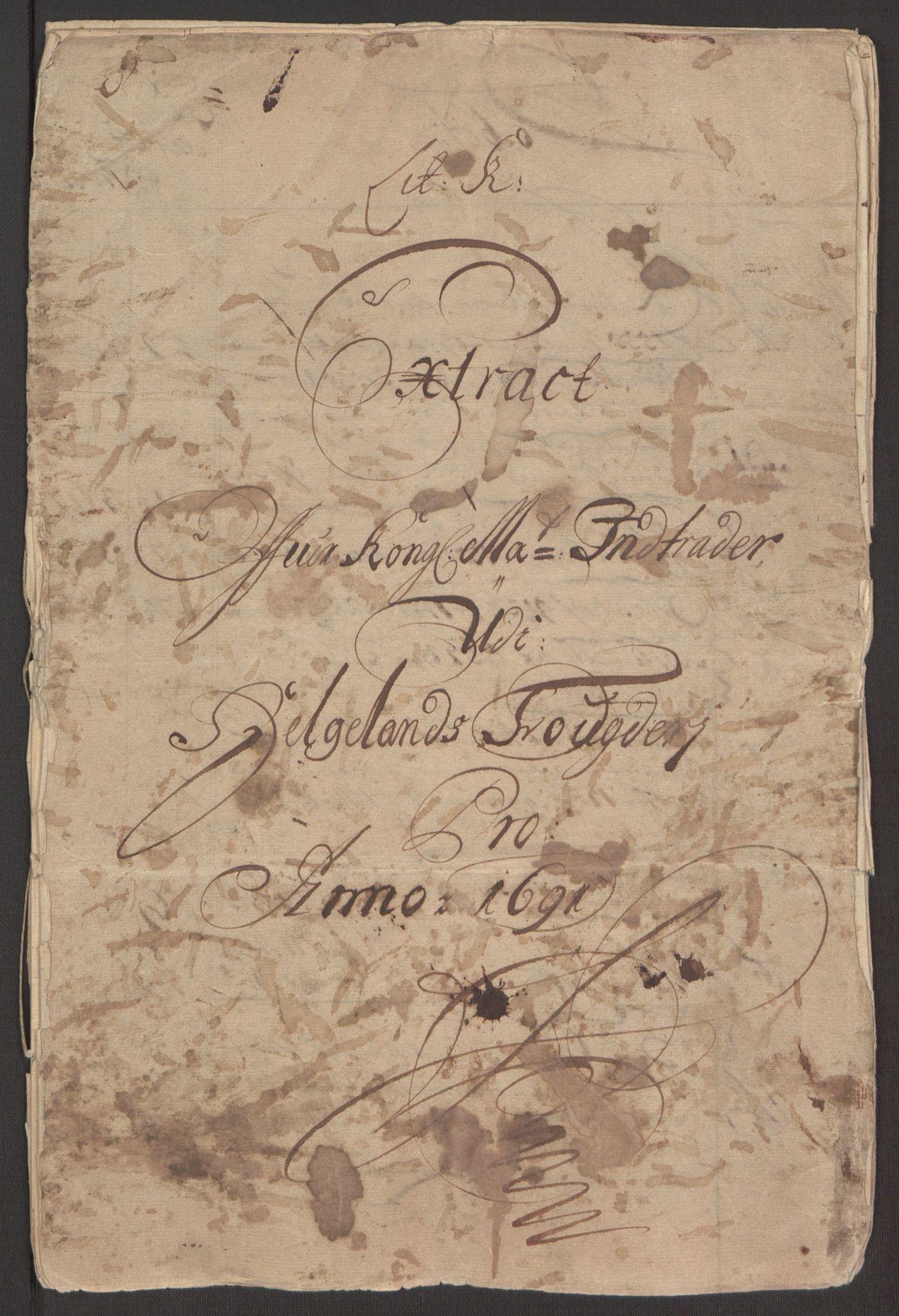 RA, Rentekammeret inntil 1814, Reviderte regnskaper, Fogderegnskap, R65/L4504: Fogderegnskap Helgeland, 1691-1692, s. 3
