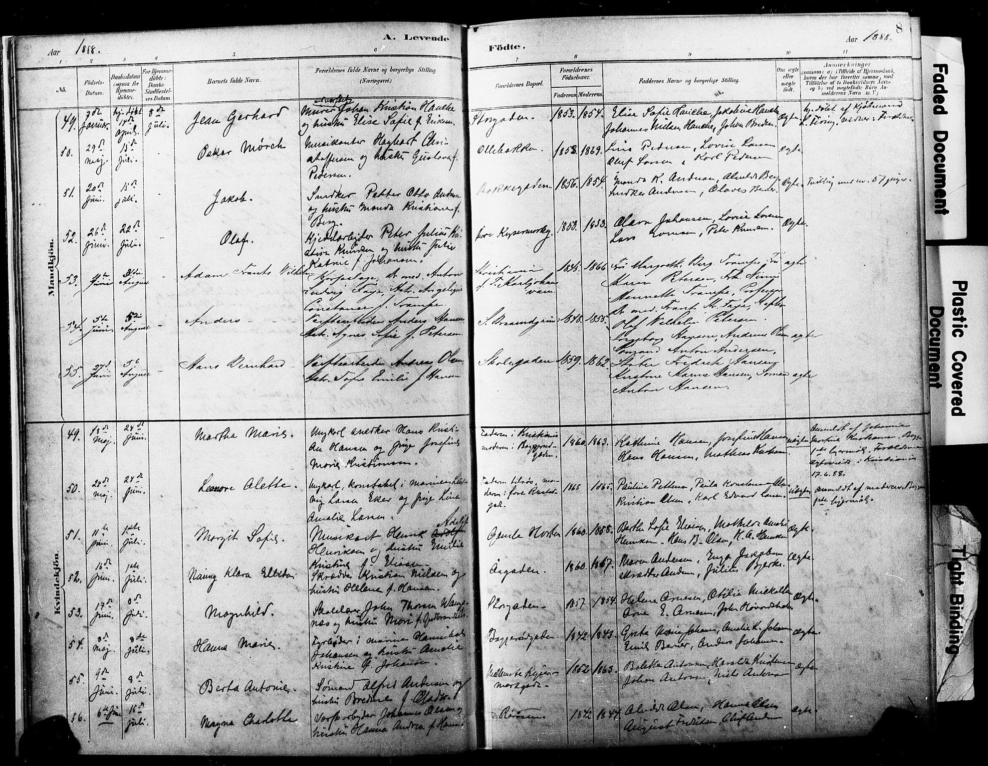 SAKO, Horten kirkebøker, F/Fa/L0004: Ministerialbok nr. 4, 1888-1895, s. 8