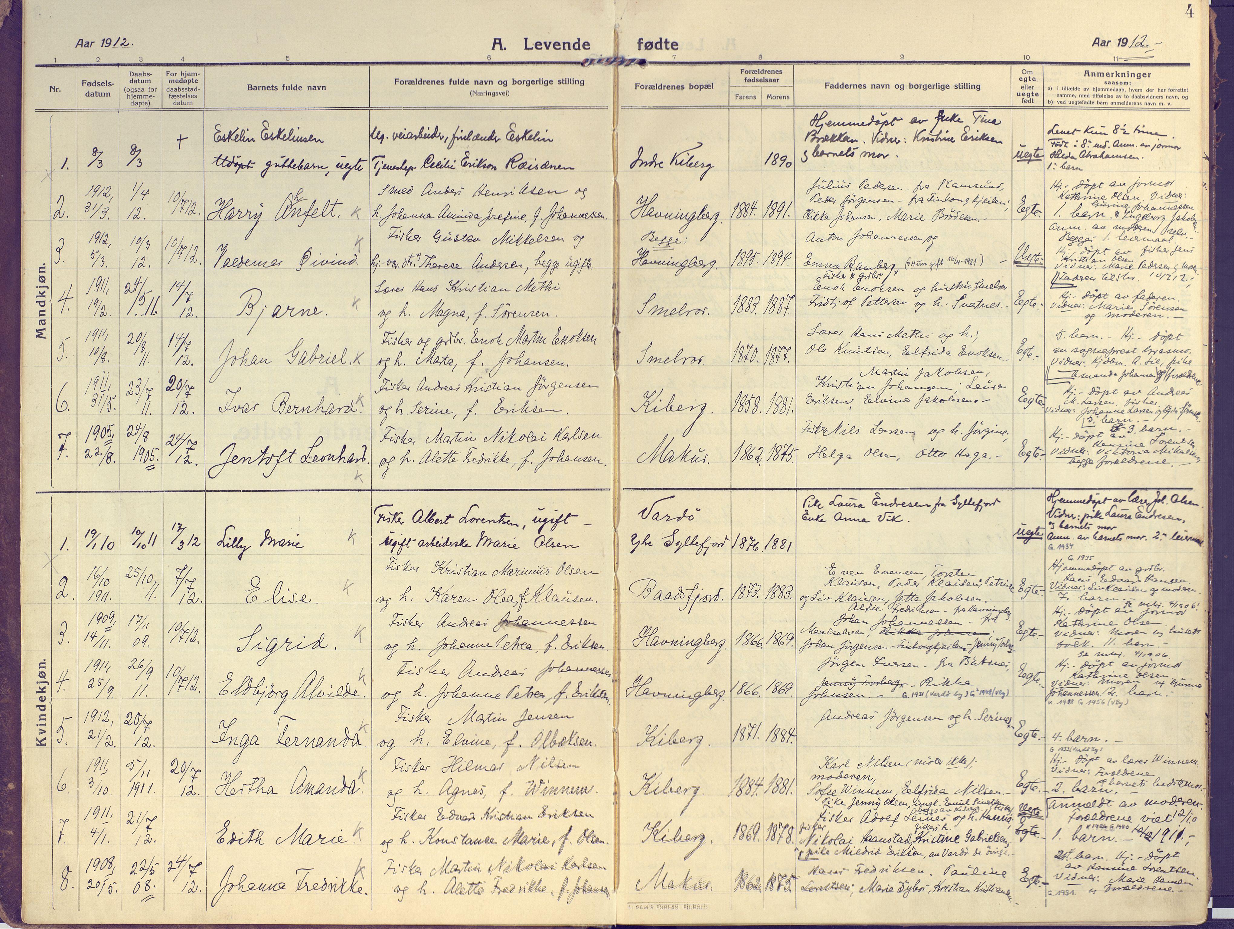 SATØ, Vardø sokneprestkontor, H/Ha/L0013kirke: Ministerialbok nr. 13, 1912-1928, s. 4