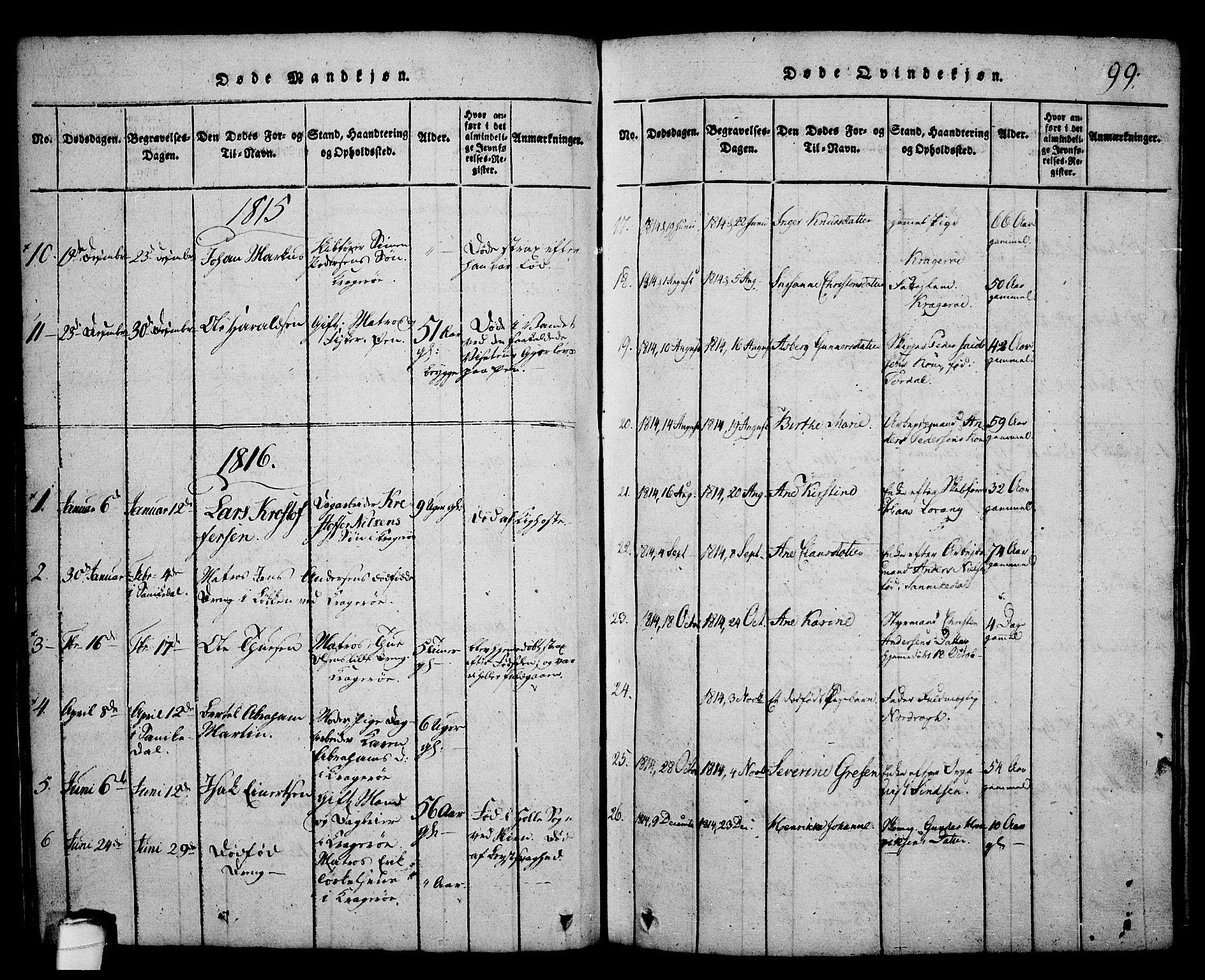 SAKO, Kragerø kirkebøker, G/Ga/L0002: Klokkerbok nr. 2, 1814-1831, s. 99