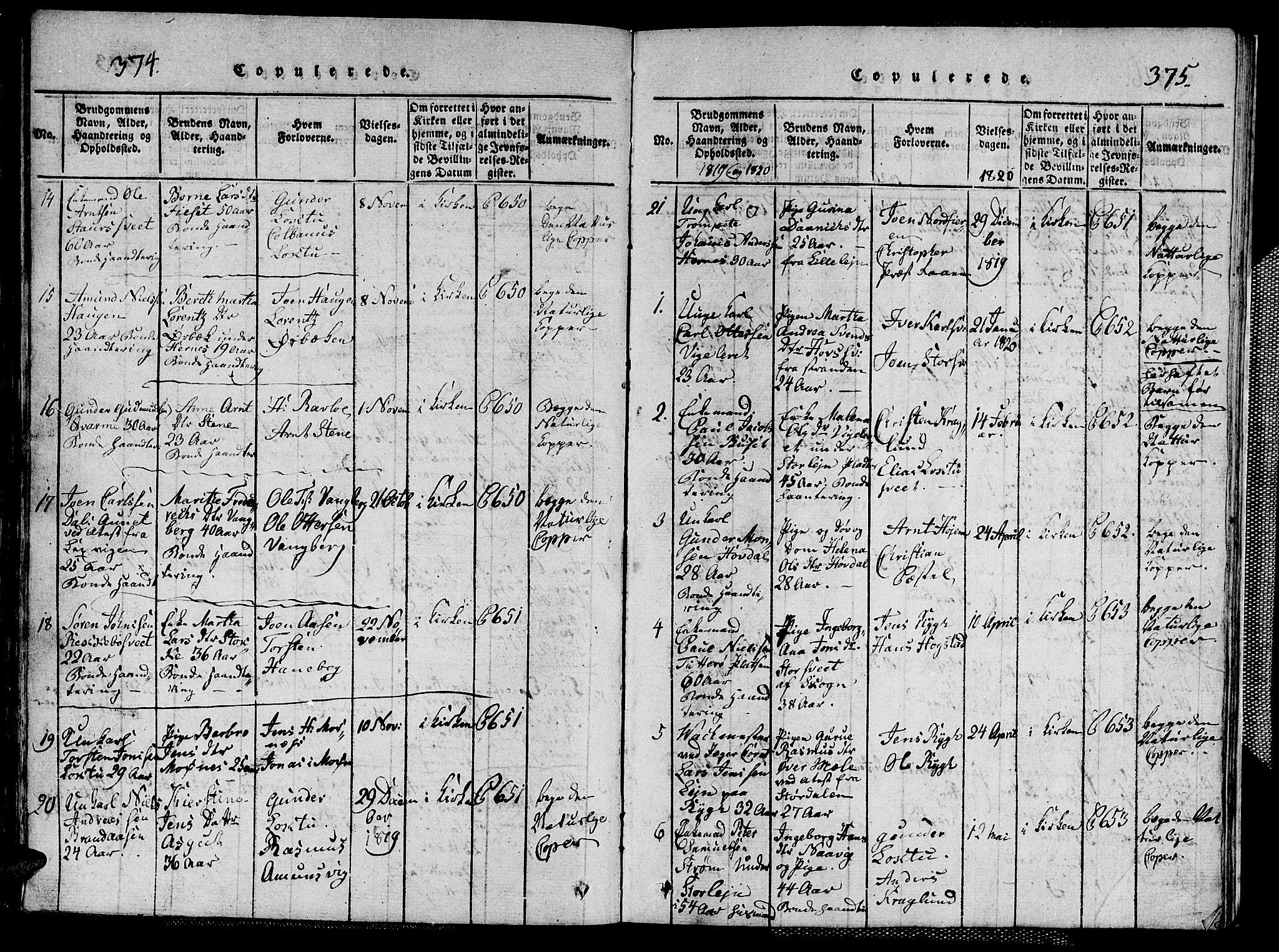 SAT, Ministerialprotokoller, klokkerbøker og fødselsregistre - Nord-Trøndelag, 713/L0124: Klokkerbok nr. 713C01, 1817-1827, s. 374-375