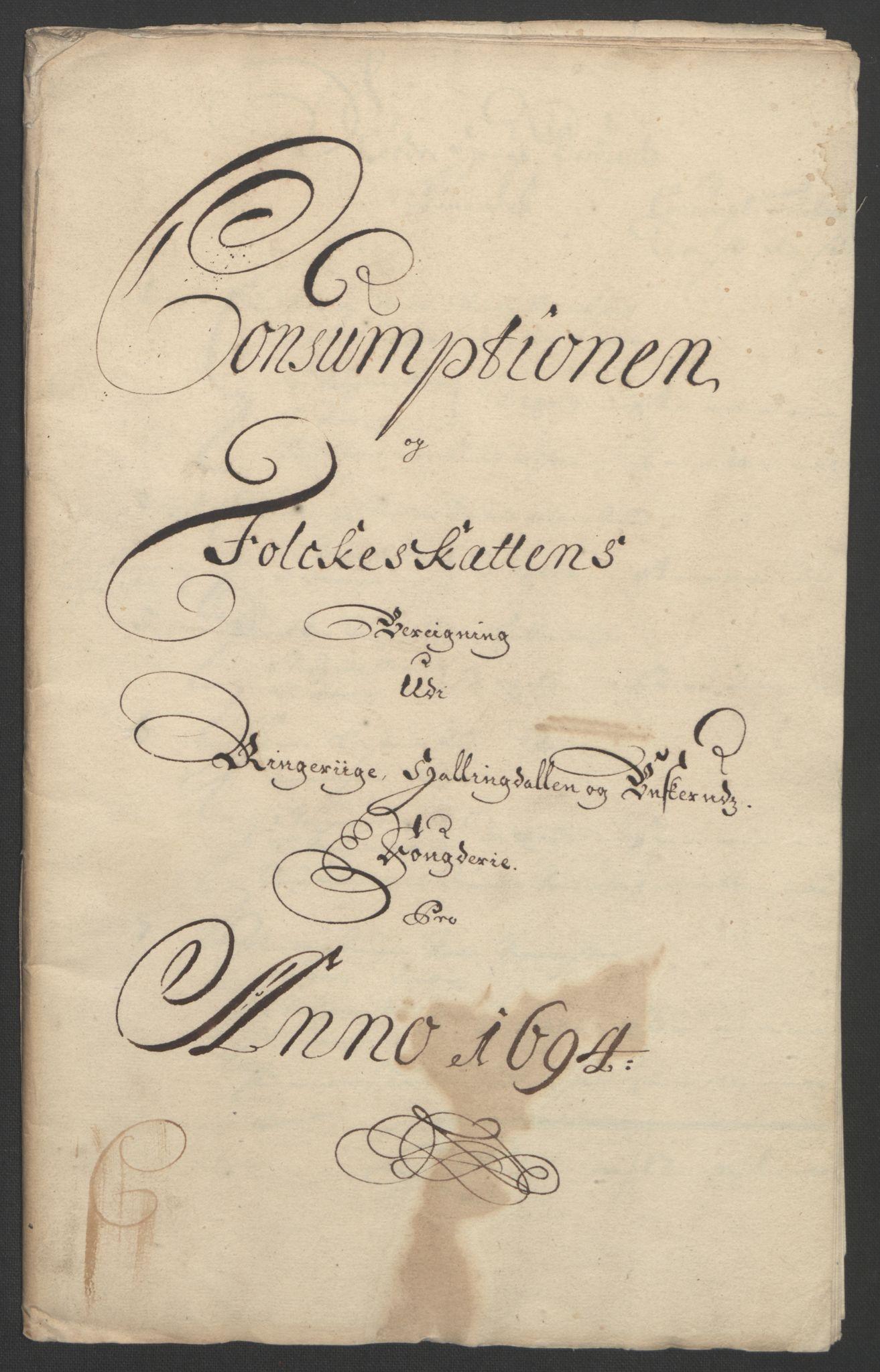 RA, Rentekammeret inntil 1814, Reviderte regnskaper, Fogderegnskap, R22/L1451: Fogderegnskap Ringerike, Hallingdal og Buskerud, 1694, s. 231