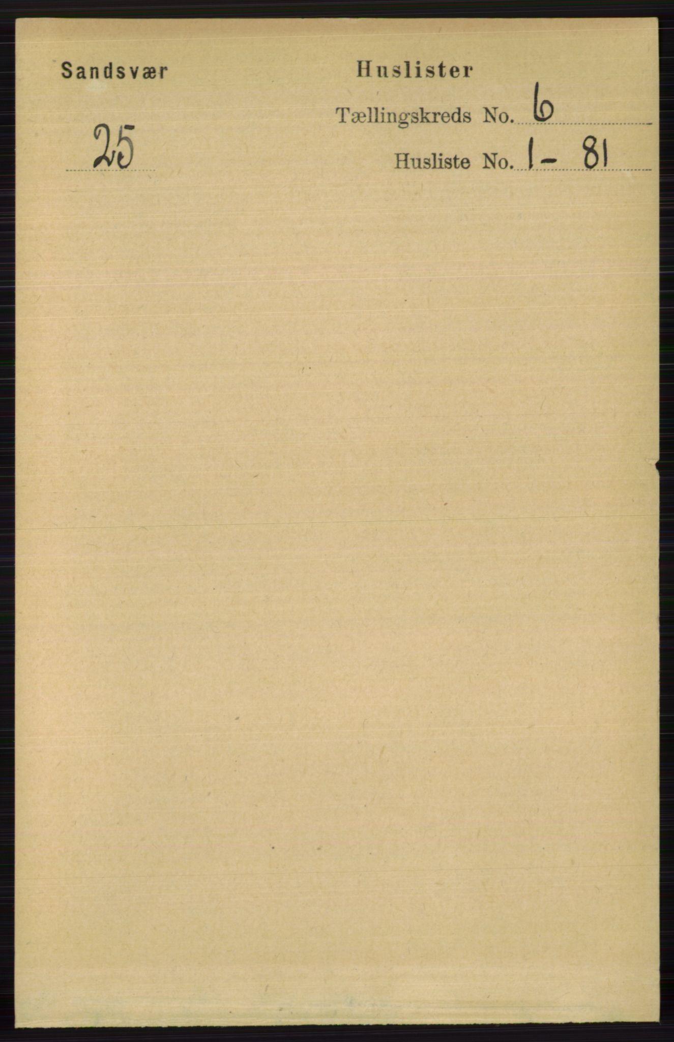 RA, Folketelling 1891 for 0629 Sandsvær herred, 1891, s. 3302