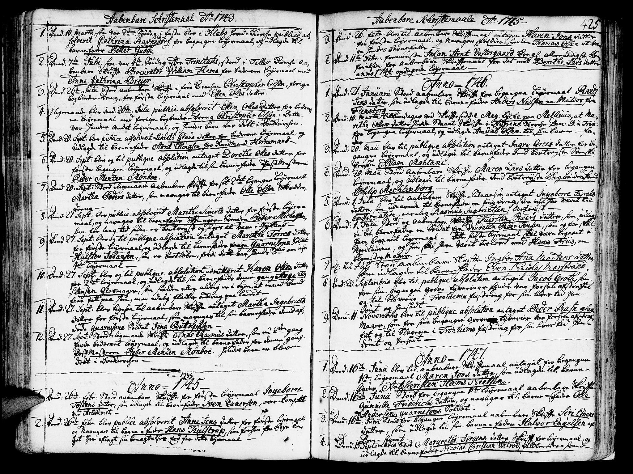 SAT, Ministerialprotokoller, klokkerbøker og fødselsregistre - Sør-Trøndelag, 602/L0103: Ministerialbok nr. 602A01, 1732-1774, s. 425