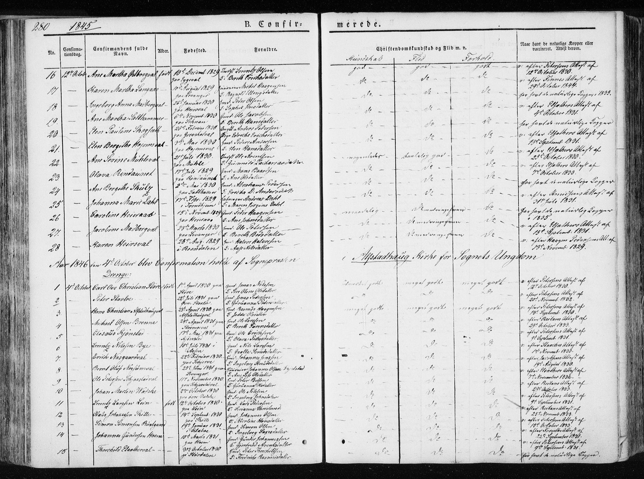 SAT, Ministerialprotokoller, klokkerbøker og fødselsregistre - Nord-Trøndelag, 717/L0154: Ministerialbok nr. 717A06 /1, 1836-1849, s. 280