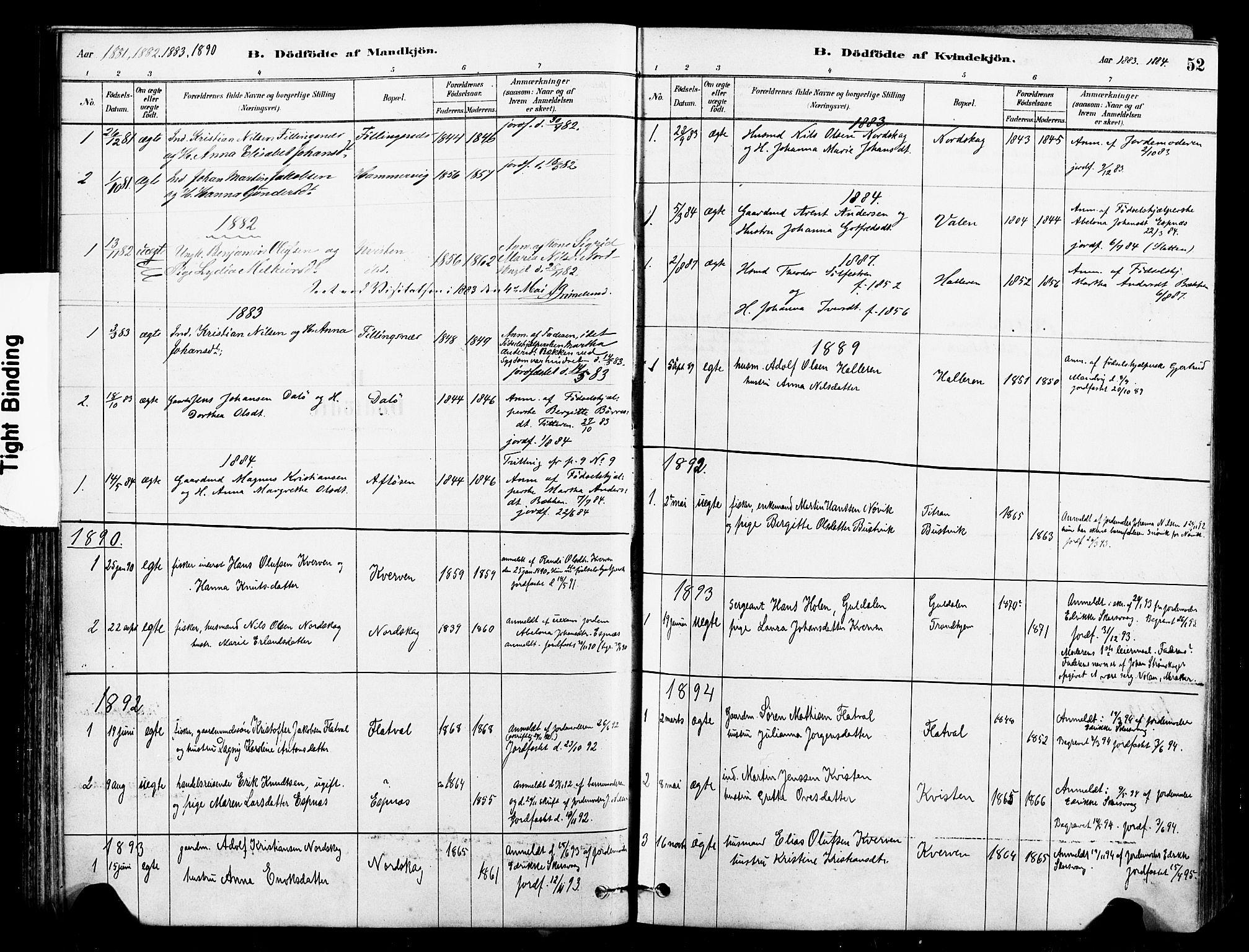 SAT, Ministerialprotokoller, klokkerbøker og fødselsregistre - Sør-Trøndelag, 641/L0595: Ministerialbok nr. 641A01, 1882-1897, s. 52