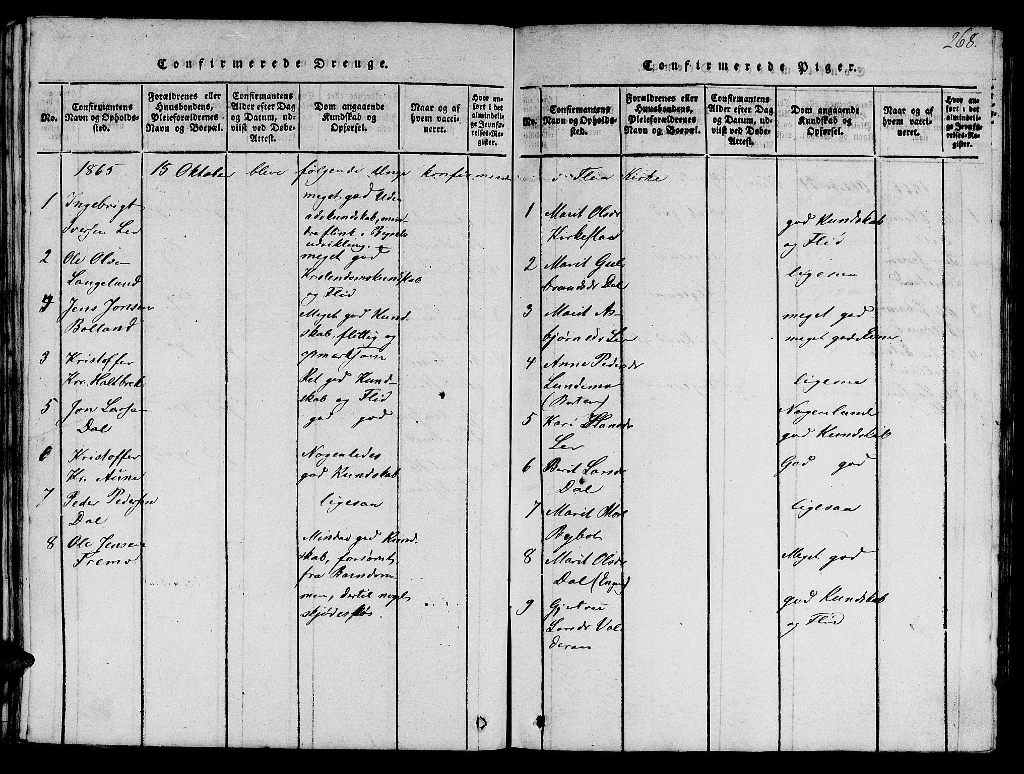 SAT, Ministerialprotokoller, klokkerbøker og fødselsregistre - Sør-Trøndelag, 693/L1121: Klokkerbok nr. 693C02, 1816-1869, s. 268
