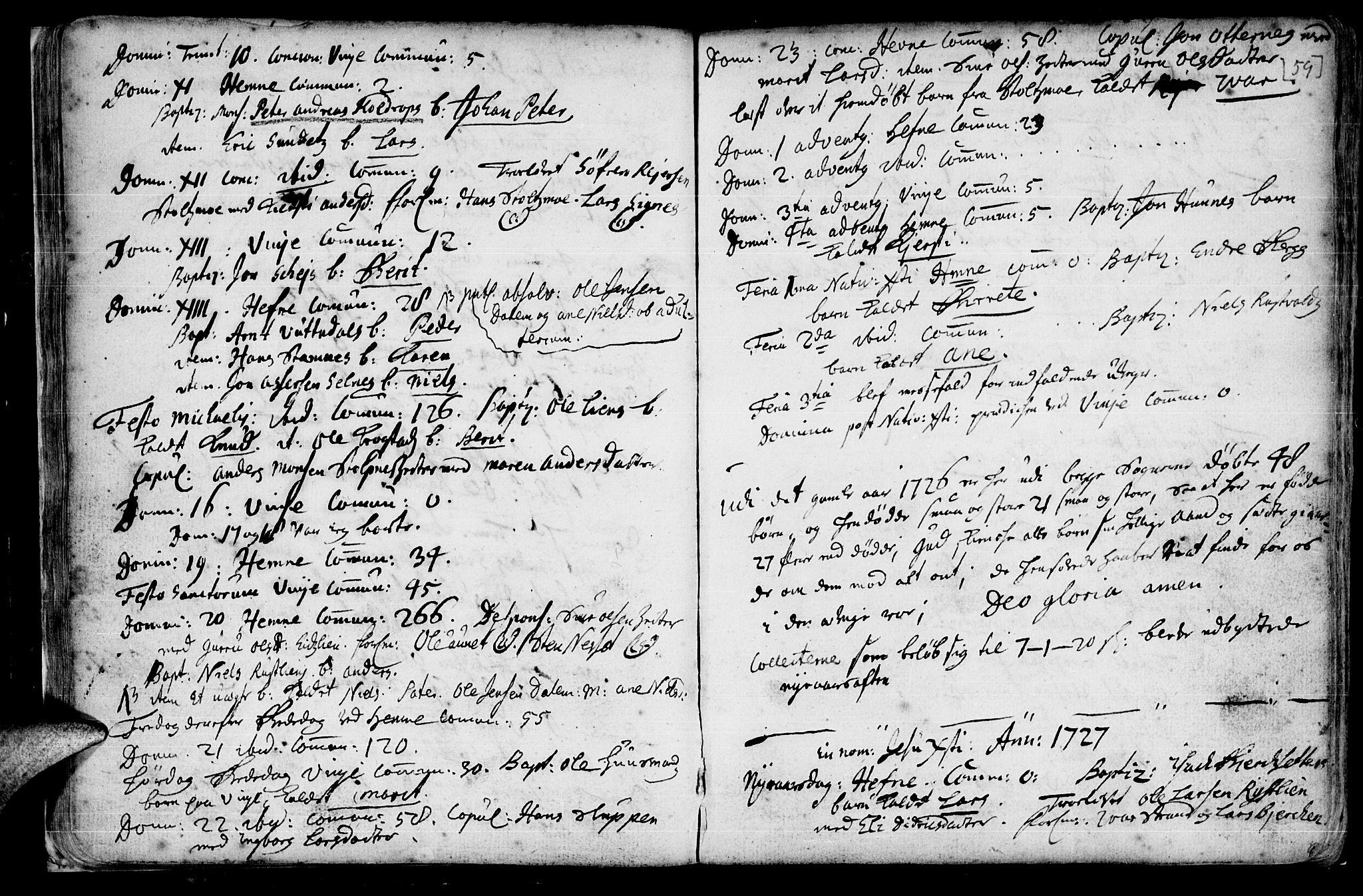 SAT, Ministerialprotokoller, klokkerbøker og fødselsregistre - Sør-Trøndelag, 630/L0488: Ministerialbok nr. 630A01, 1717-1756, s. 58-59