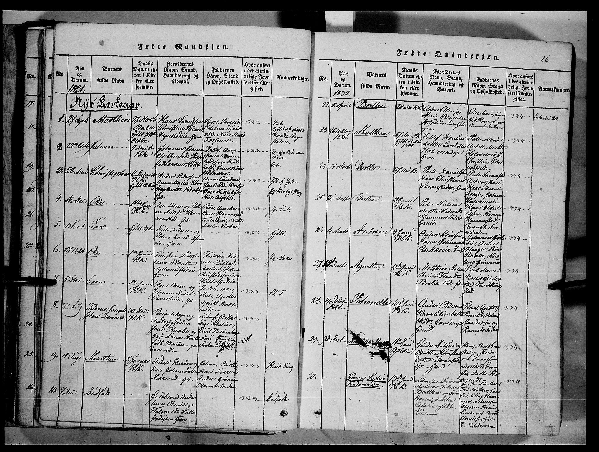 SAH, Østre Toten prestekontor, Ministerialbok nr. 1, 1828-1839, s. 26