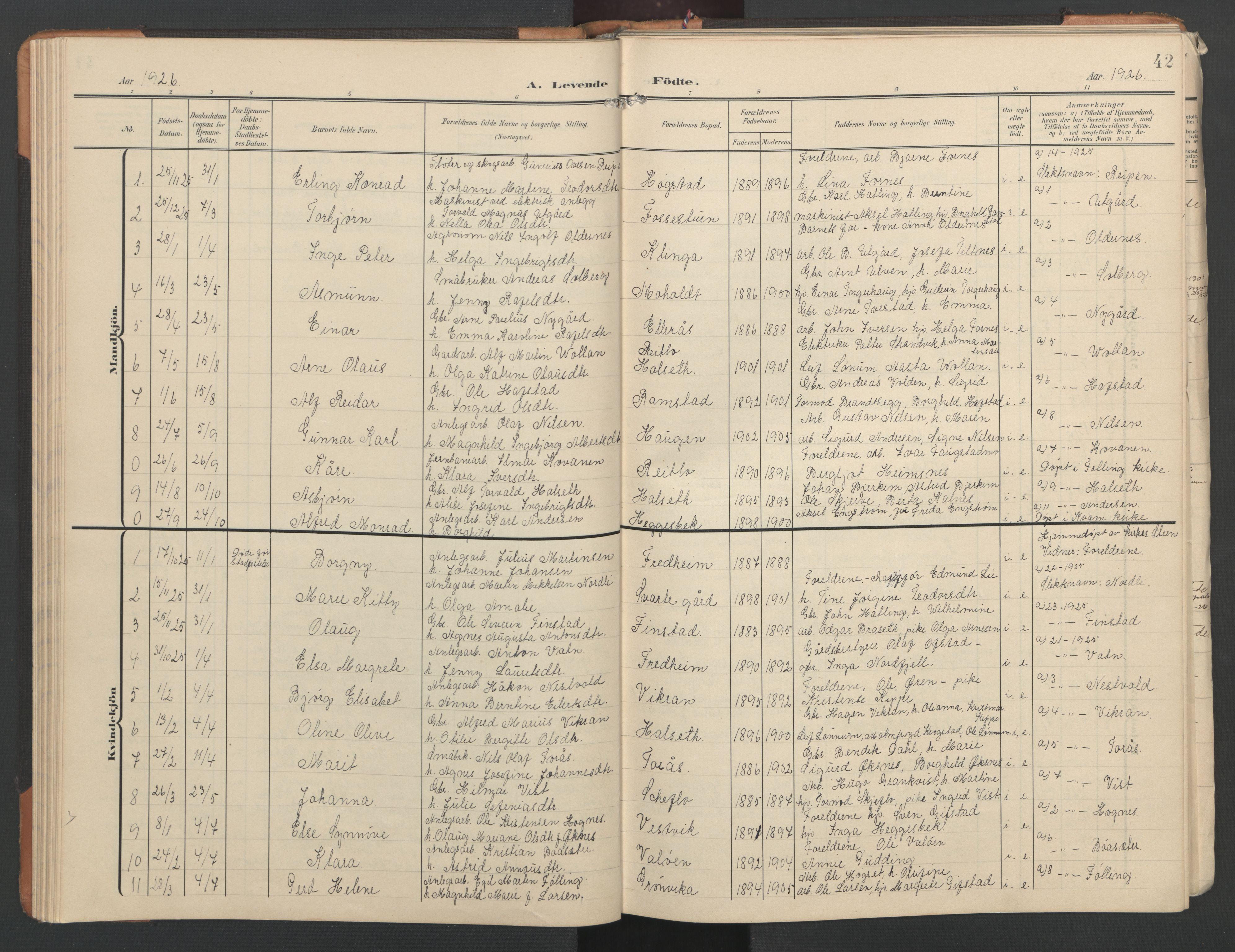 SAT, Ministerialprotokoller, klokkerbøker og fødselsregistre - Nord-Trøndelag, 746/L0455: Klokkerbok nr. 746C01, 1908-1933, s. 42