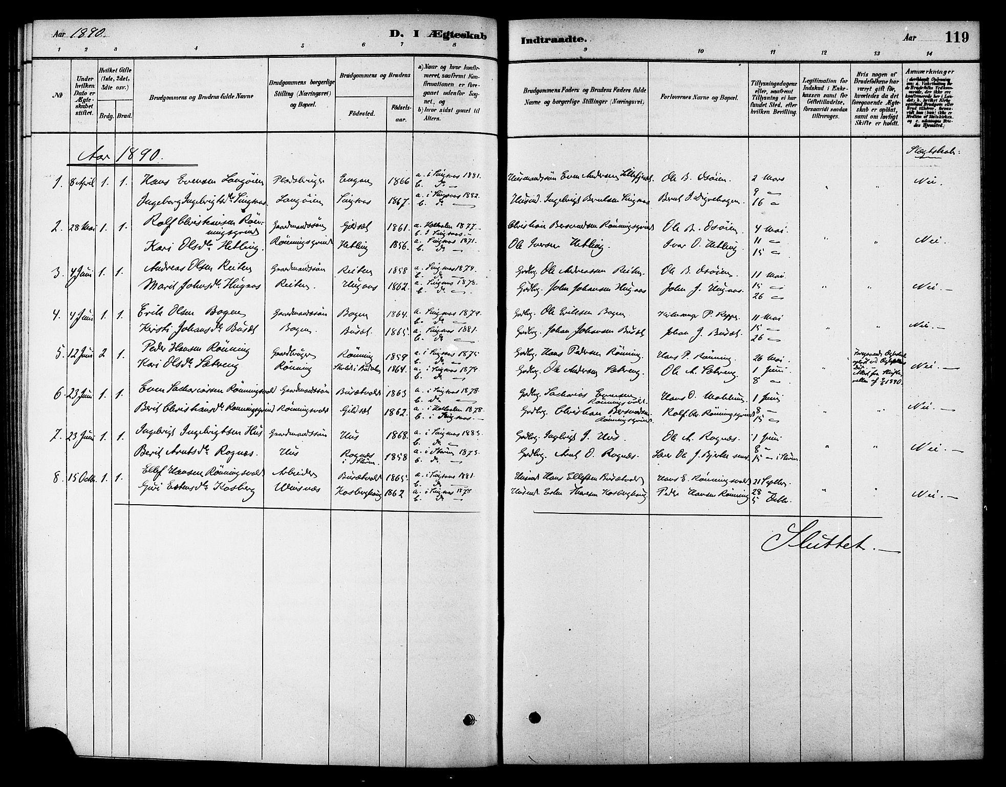 SAT, Ministerialprotokoller, klokkerbøker og fødselsregistre - Sør-Trøndelag, 688/L1024: Ministerialbok nr. 688A01, 1879-1890, s. 119