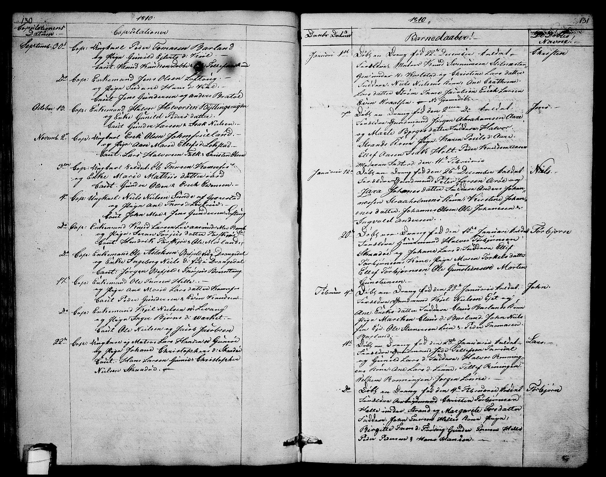 SAKO, Sannidal kirkebøker, F/Fa/L0003: Ministerialbok nr. 3, 1803-1813, s. 130-131