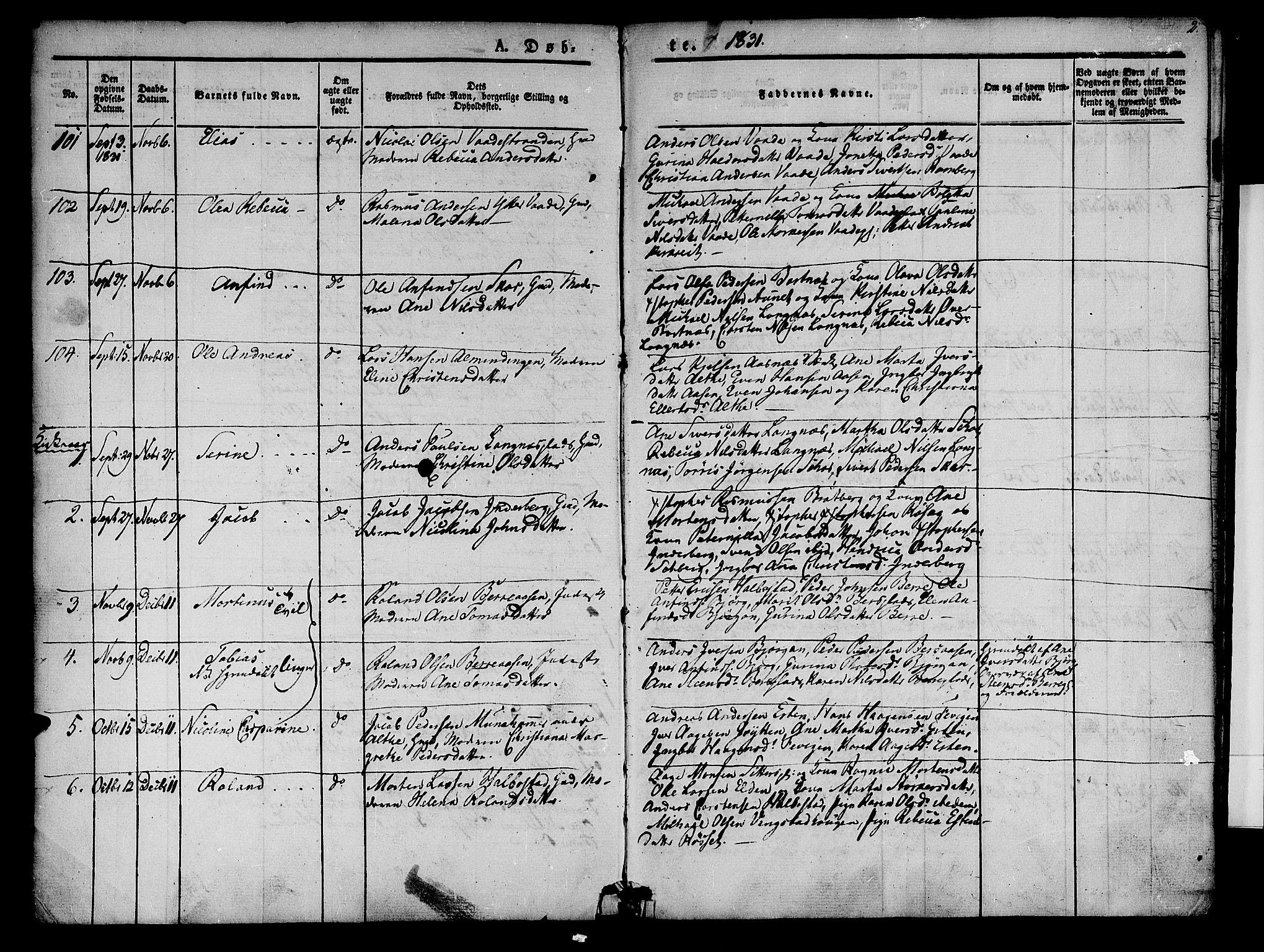 SAT, Ministerialprotokoller, klokkerbøker og fødselsregistre - Nord-Trøndelag, 741/L0391: Ministerialbok nr. 741A05, 1831-1836, s. 2
