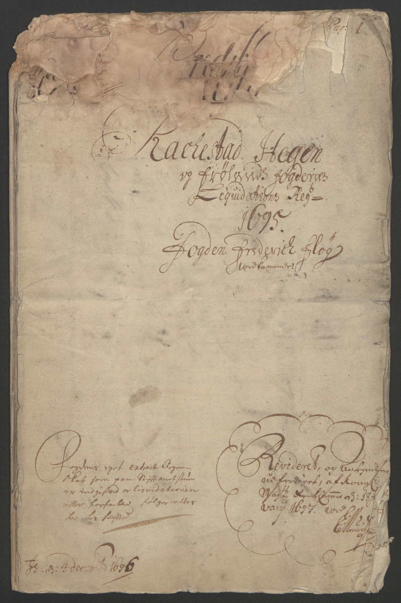 RA, Rentekammeret inntil 1814, Reviderte regnskaper, Fogderegnskap, R07/L0285: Fogderegnskap Rakkestad, Heggen og Frøland, 1695, s. 5