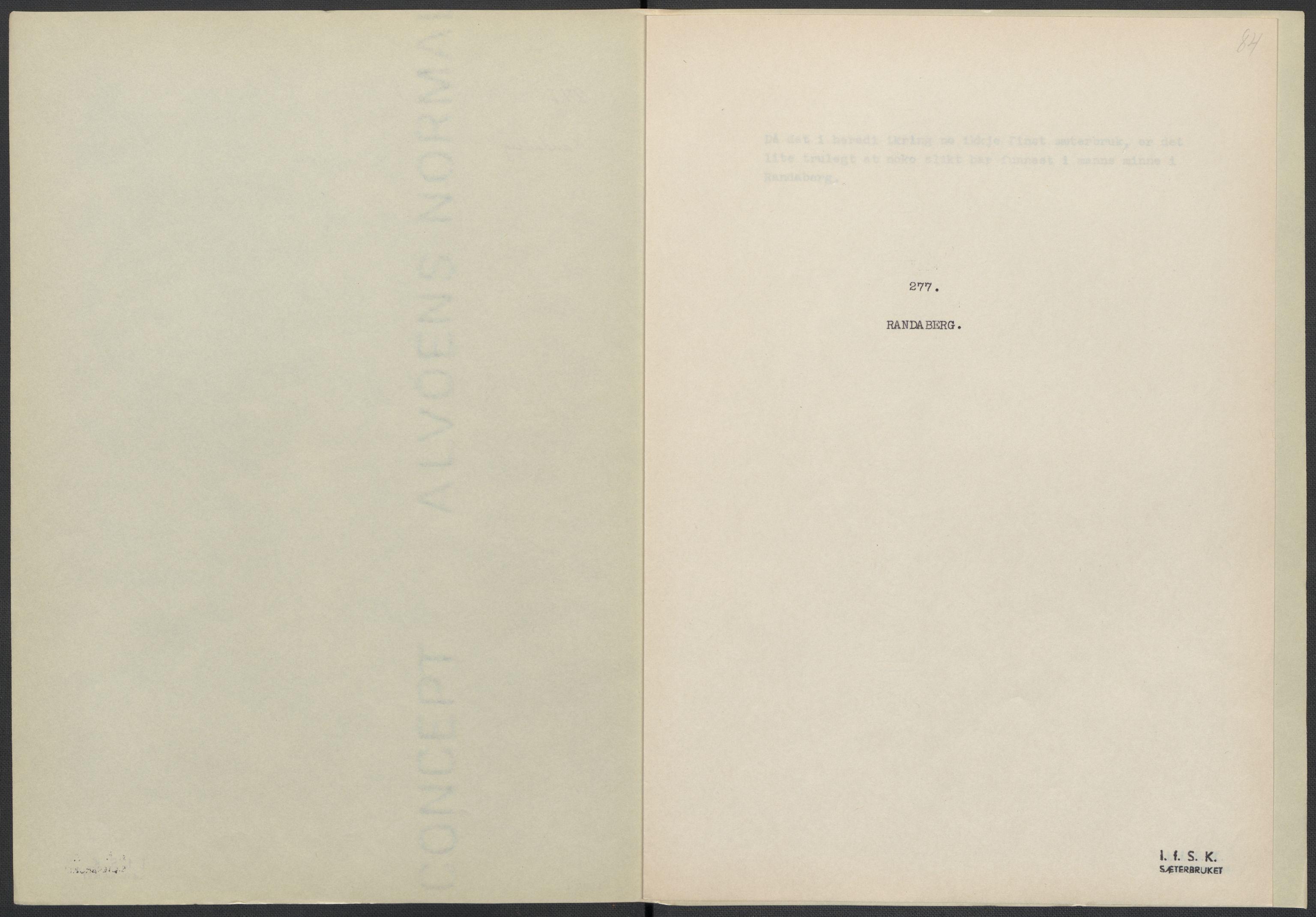 RA, Instituttet for sammenlignende kulturforskning, F/Fc/L0009: Eske B9:, 1932-1935, s. 84
