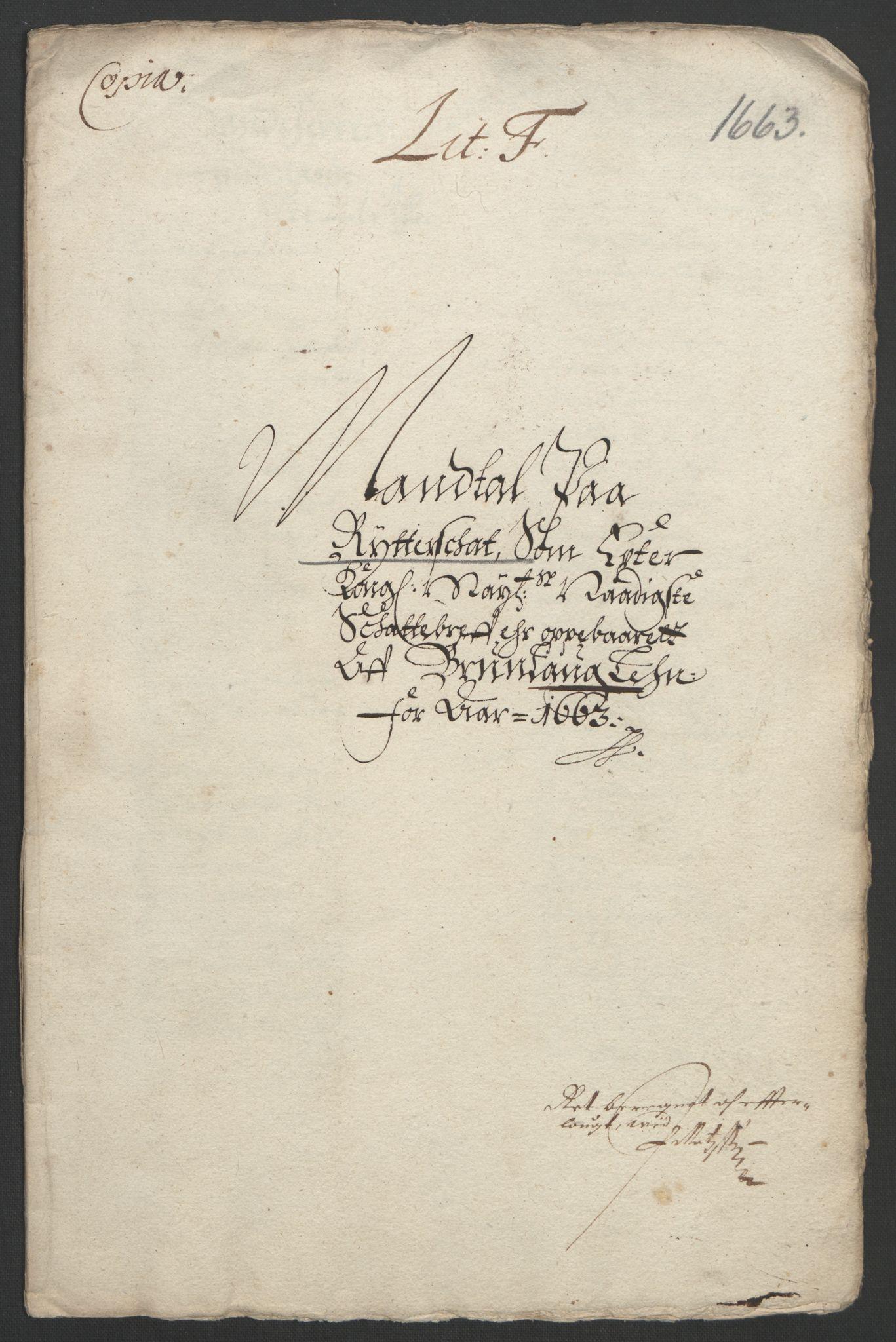 RA, Rentekammeret inntil 1814, Reviderte regnskaper, Fogderegnskap, R33/L1963: Fogderegnskap Larvik grevskap, 1662-1664, s. 157