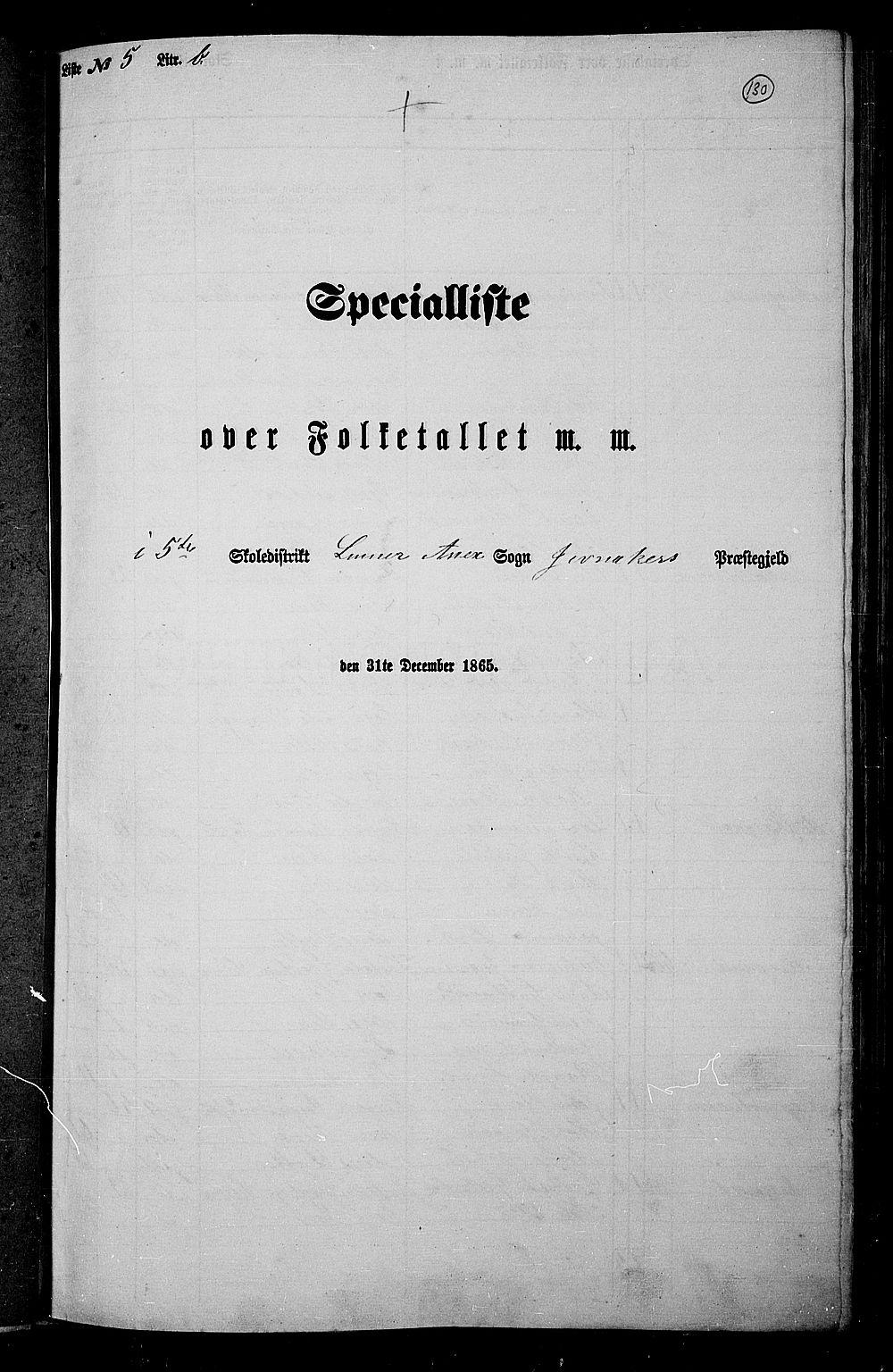 RA, Folketelling 1865 for 0532P Jevnaker prestegjeld, 1865, s. 124