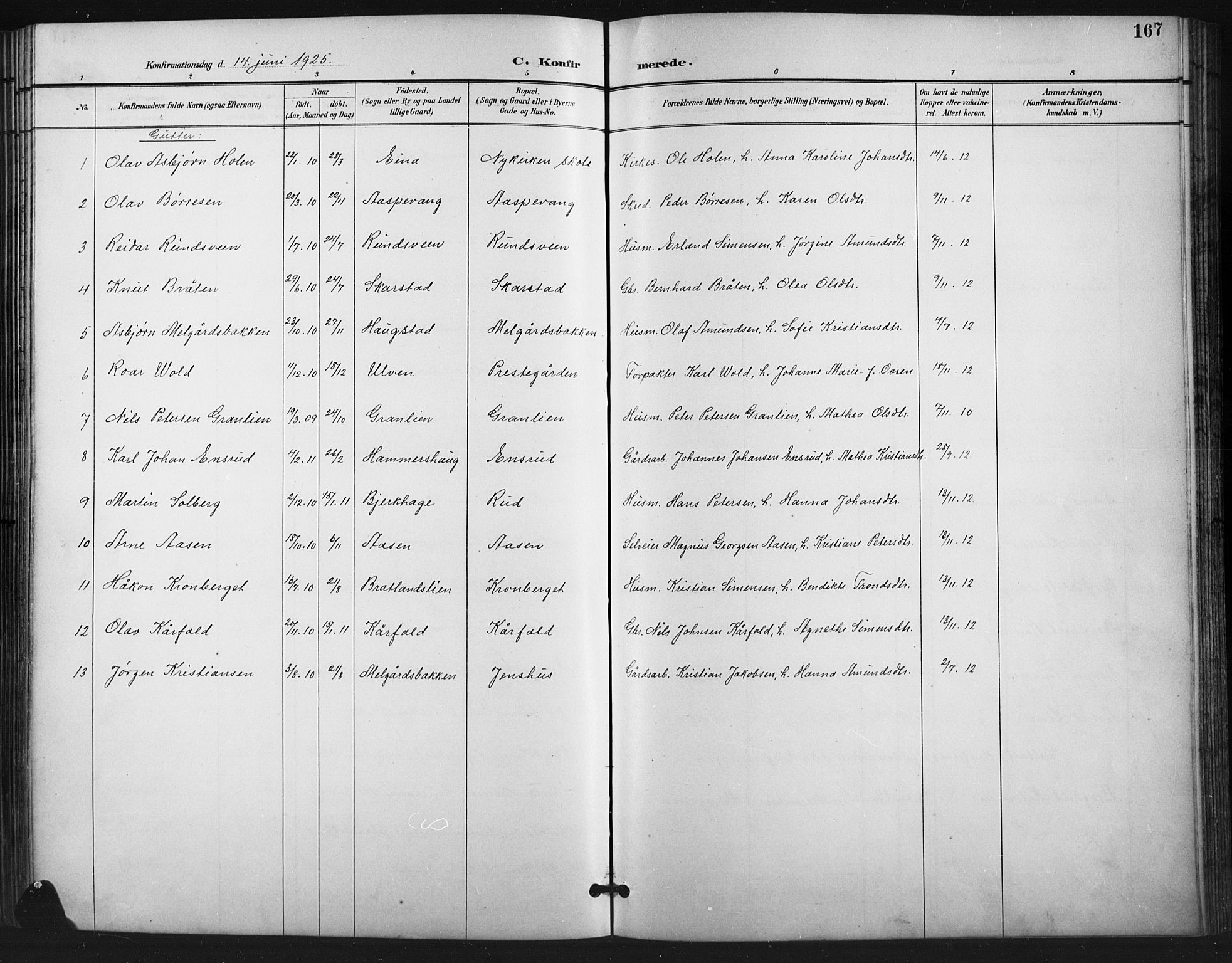 SAH, Vestre Gausdal prestekontor, Klokkerbok nr. 3, 1896-1925, s. 167