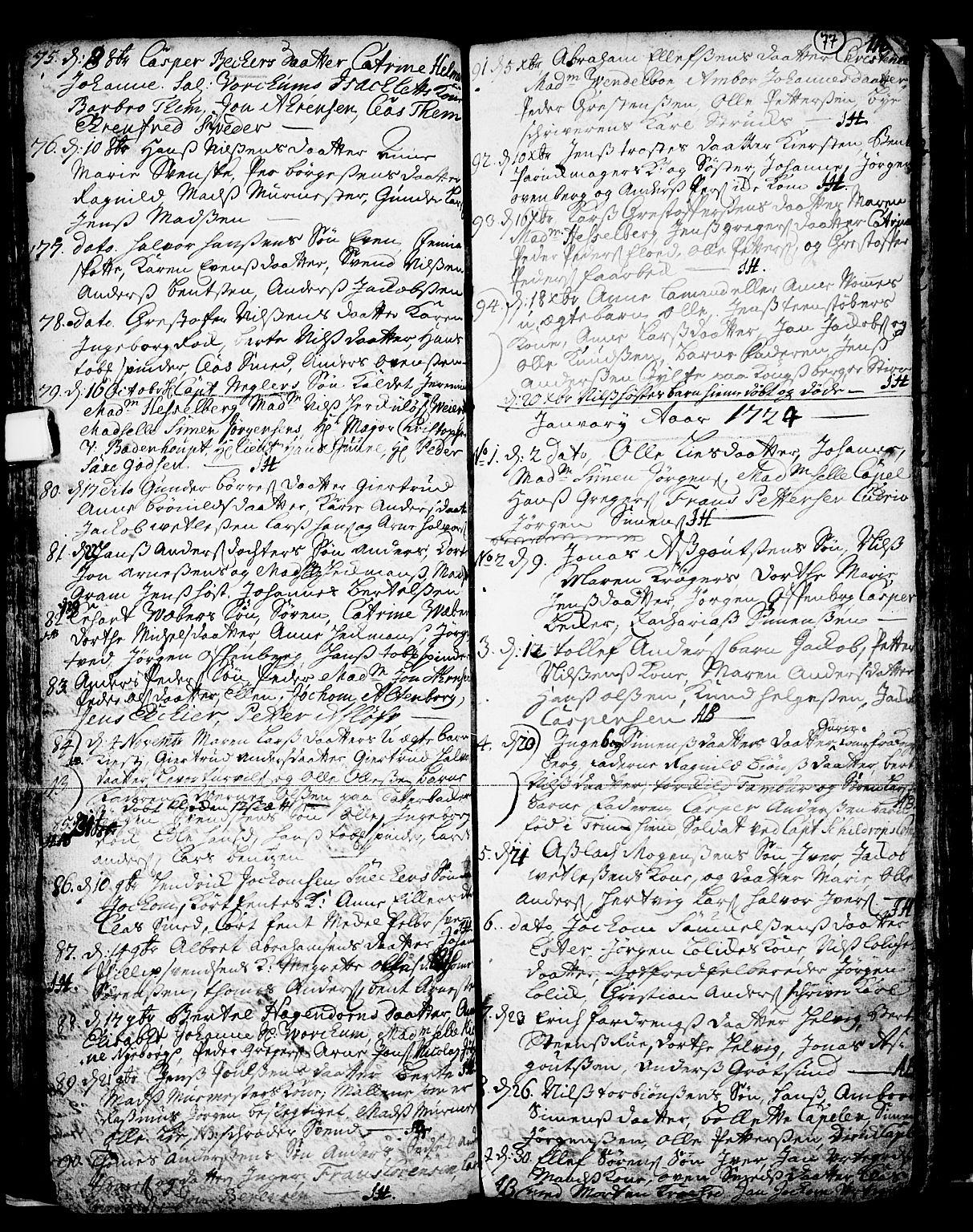 SAKO, Skien kirkebøker, F/Fa/L0002: Ministerialbok nr. 2, 1716-1757, s. 77
