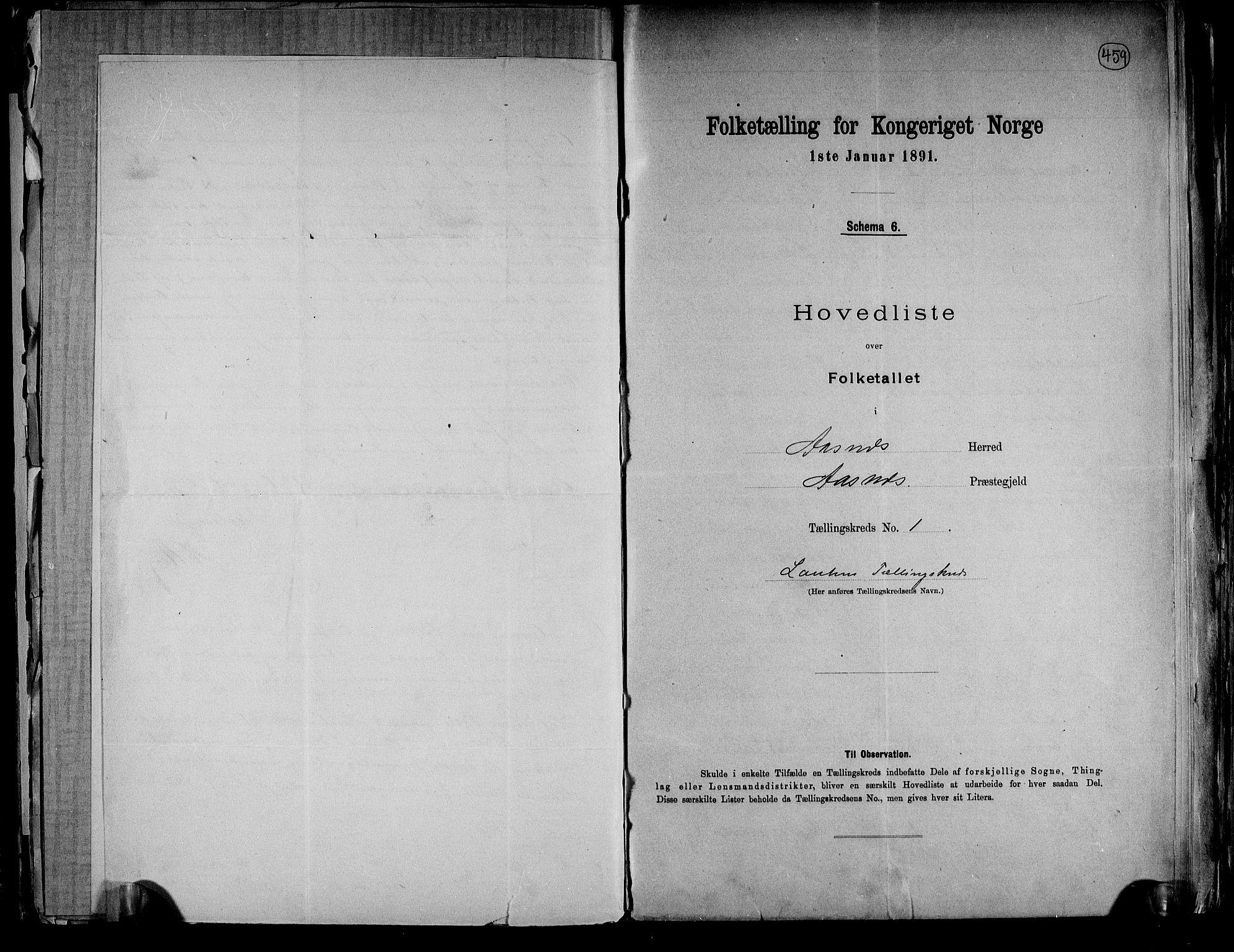 RA, Folketelling 1891 for 0425 Åsnes herred, 1891, s. 6