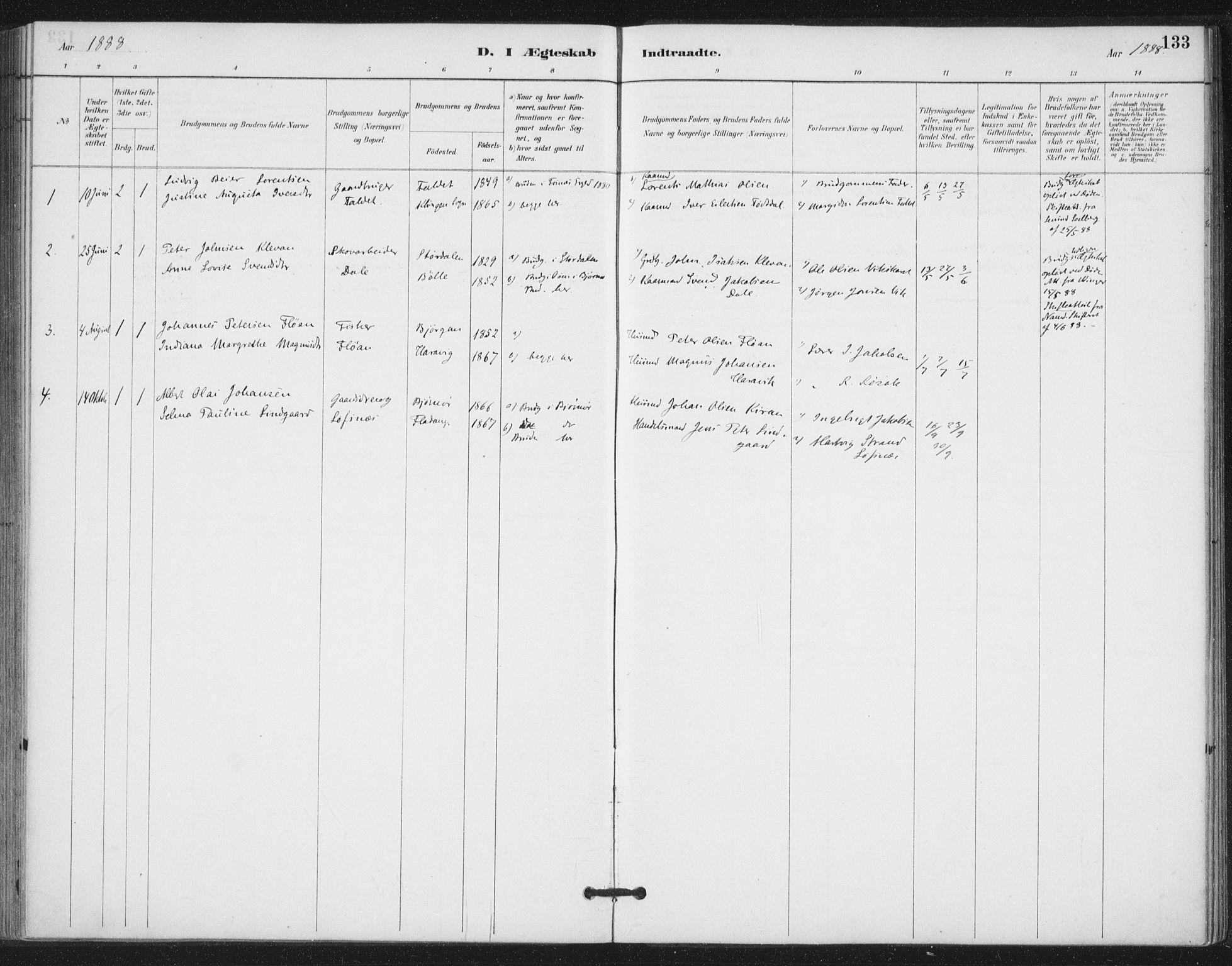 SAT, Ministerialprotokoller, klokkerbøker og fødselsregistre - Nord-Trøndelag, 772/L0603: Ministerialbok nr. 772A01, 1885-1912, s. 133
