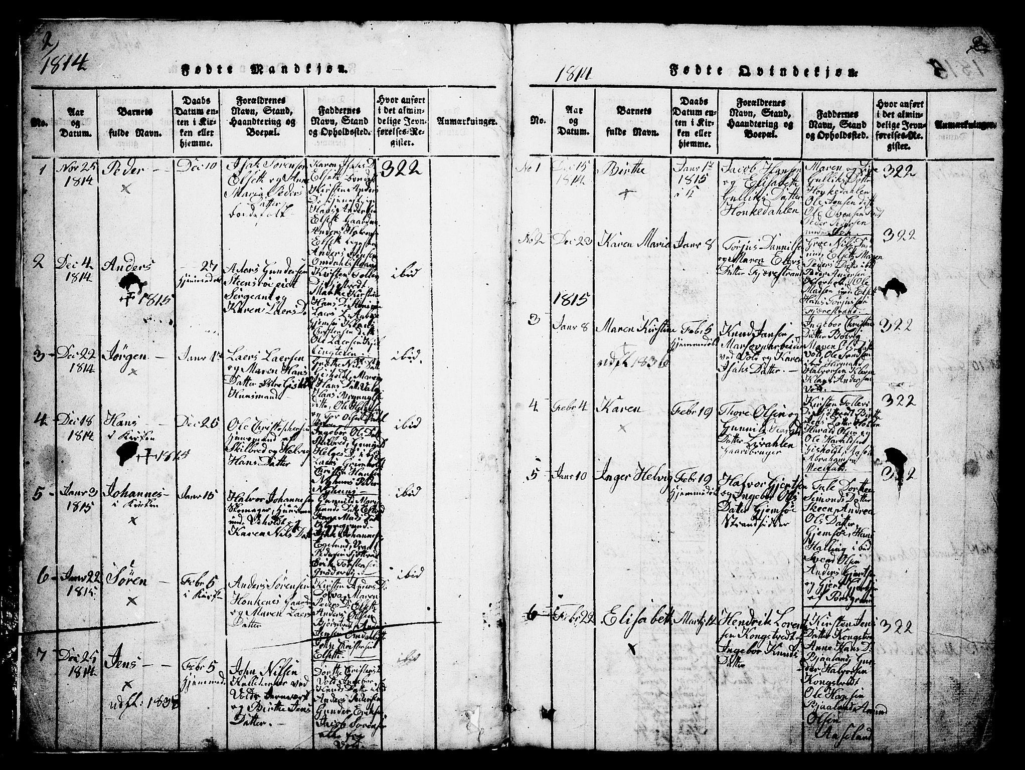 SAKO, Solum kirkebøker, G/Ga/L0001: Klokkerbok nr. I 1, 1814-1833, s. 2