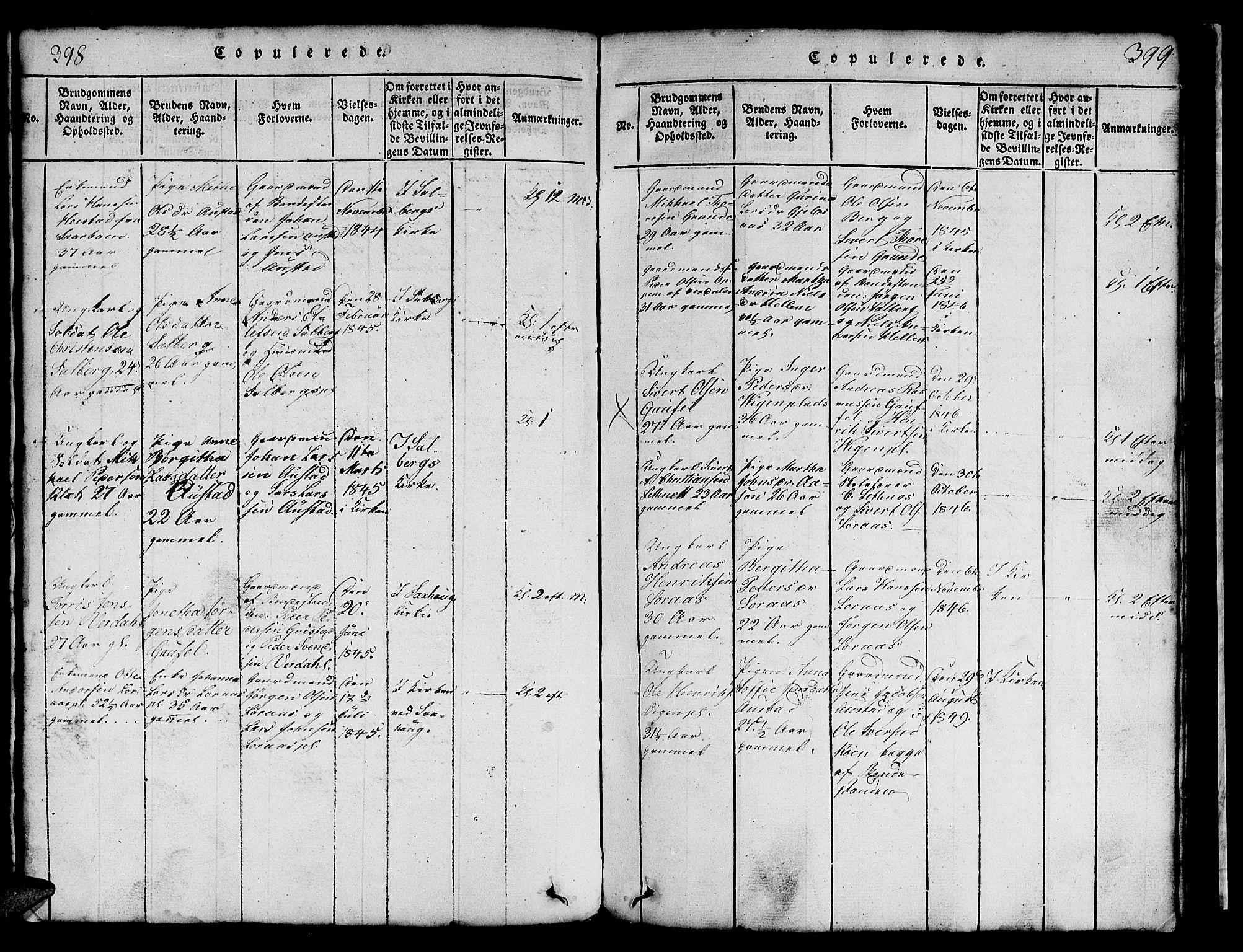 SAT, Ministerialprotokoller, klokkerbøker og fødselsregistre - Nord-Trøndelag, 731/L0310: Klokkerbok nr. 731C01, 1816-1874, s. 398-399