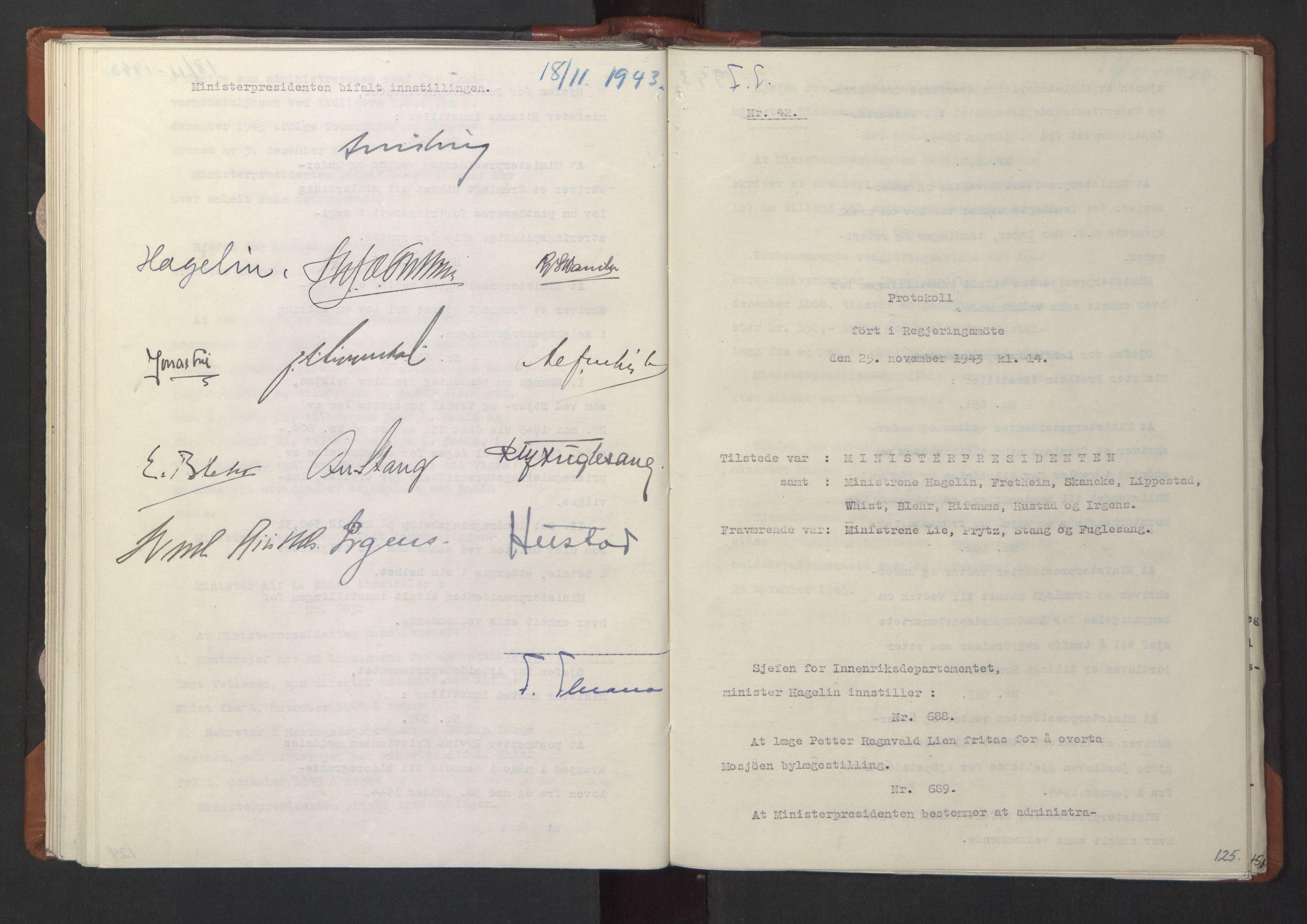 RA, NS-administrasjonen 1940-1945 (Statsrådsekretariatet, de kommisariske statsråder mm), D/Da/L0003: Vedtak (Beslutninger) nr. 1-746 og tillegg nr. 1-47 (RA. j.nr. 1394/1944, tilgangsnr. 8/1944, 1943, s. 124b-125a