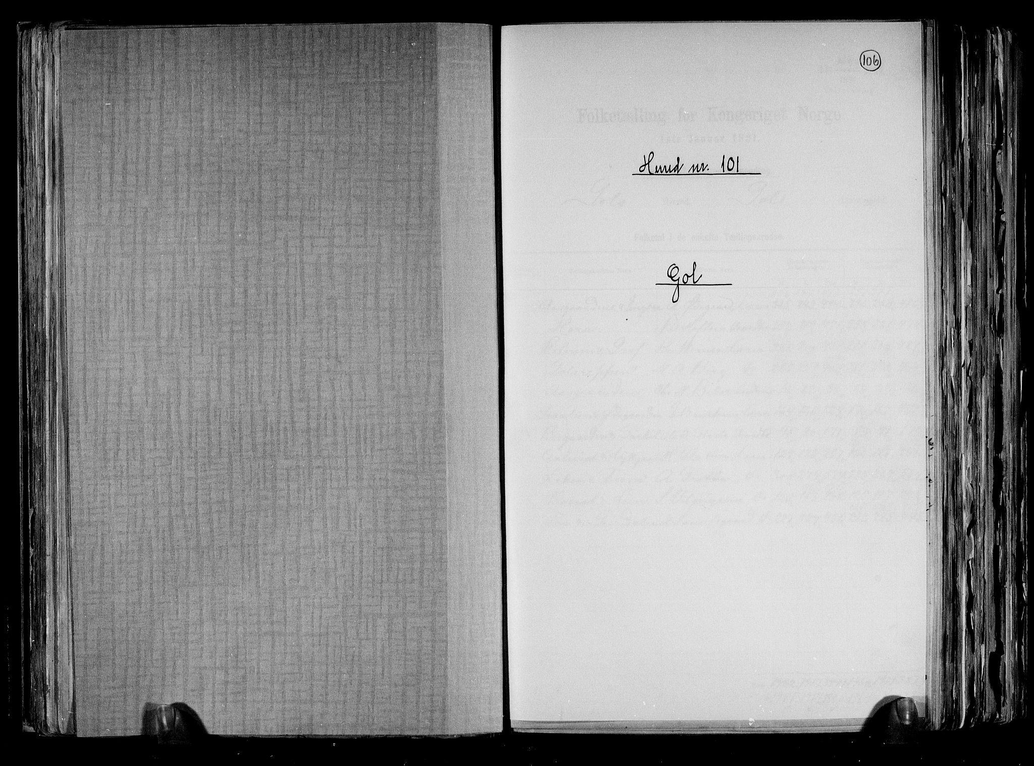 RA, Folketelling 1891 for 0617 Gol og Hemsedal herred, 1891, s. 1