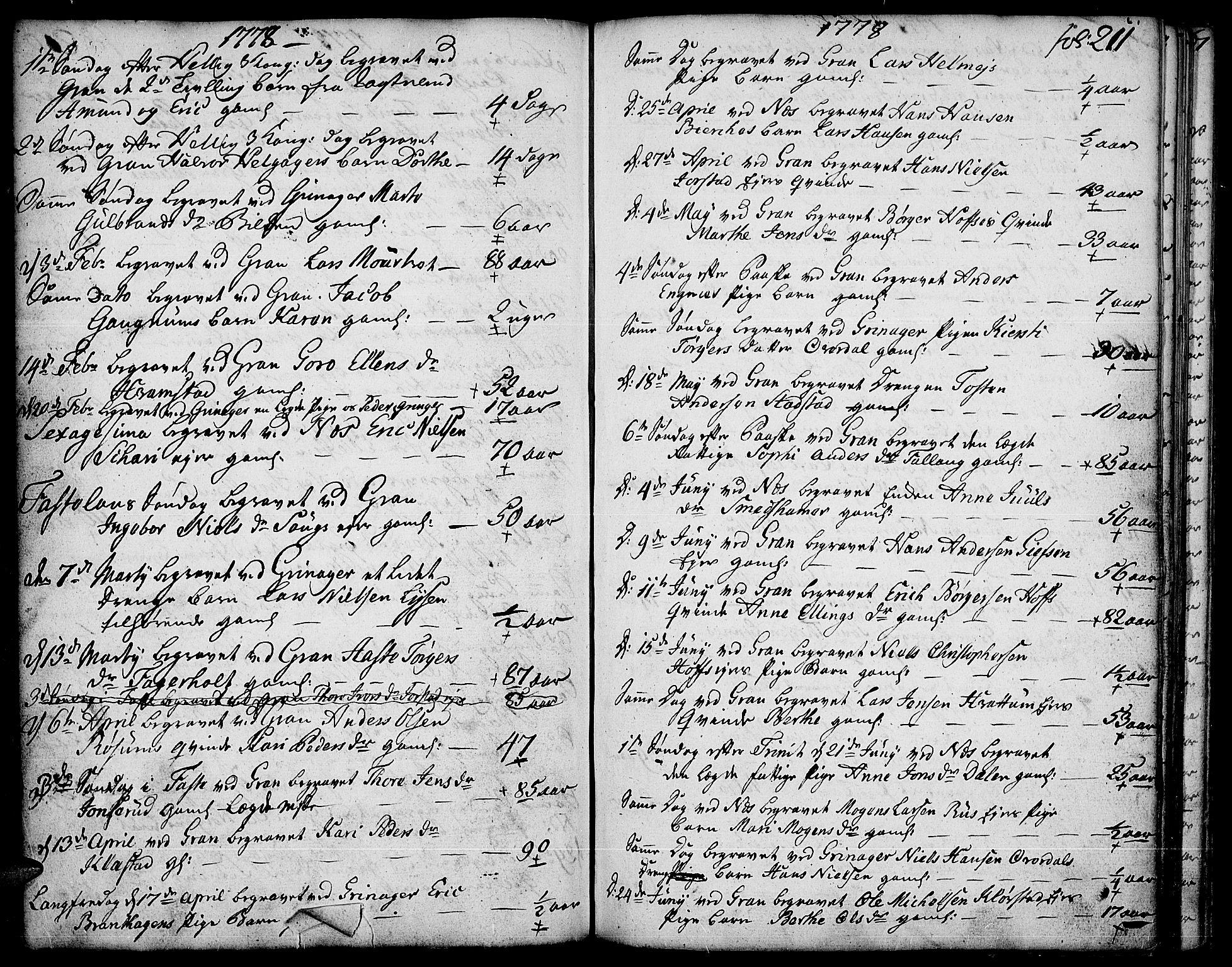 SAH, Gran prestekontor, Ministerialbok nr. 5, 1776-1788, s. 211