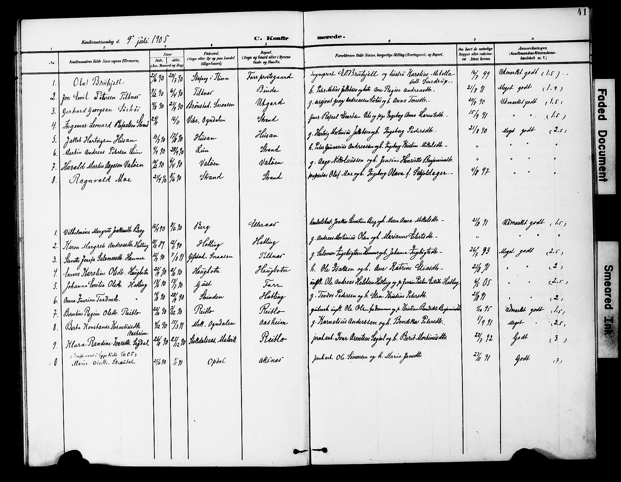 SAT, Ministerialprotokoller, klokkerbøker og fødselsregistre - Nord-Trøndelag, 746/L0452: Ministerialbok nr. 746A09, 1900-1908, s. 41