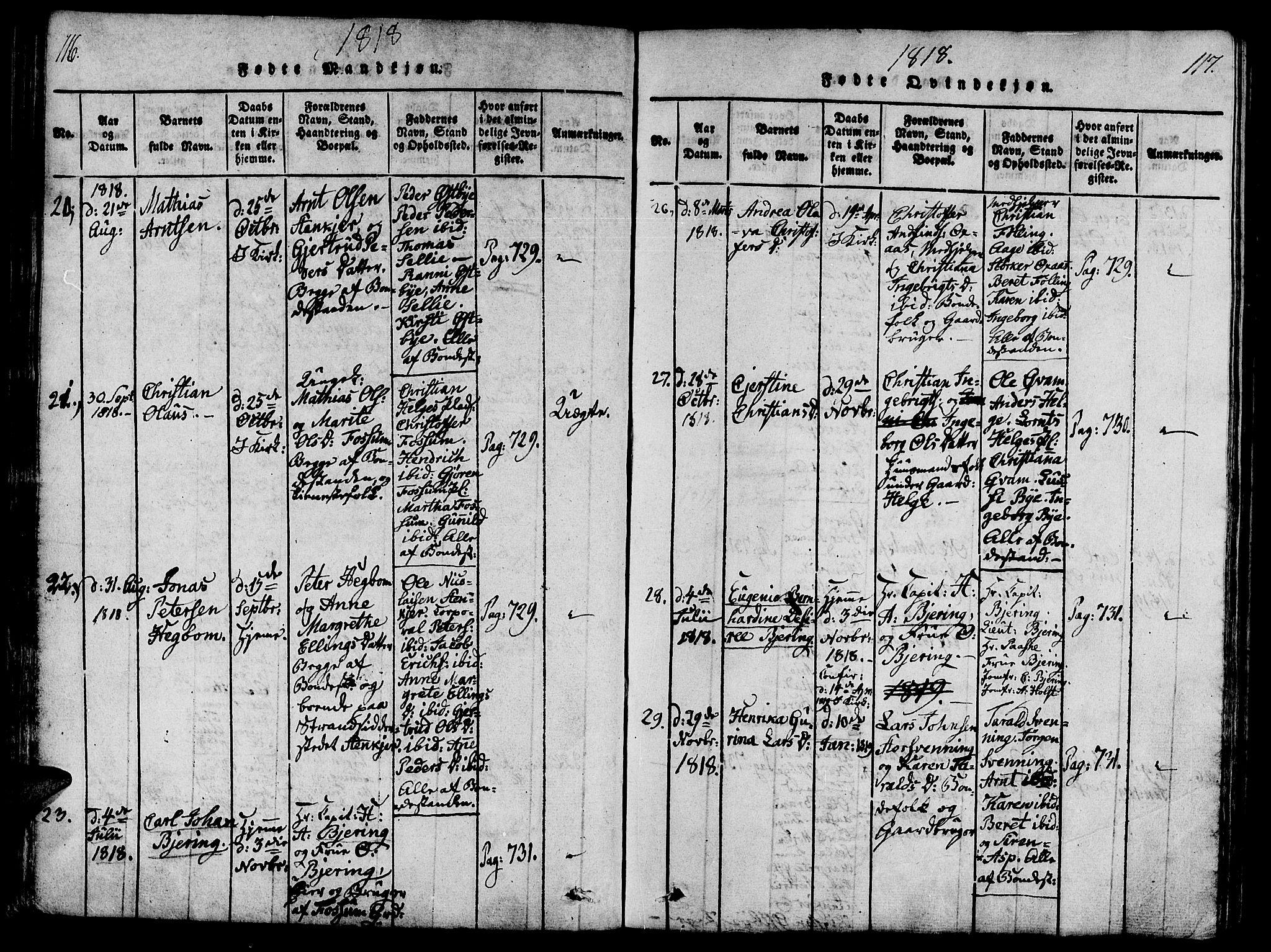 SAT, Ministerialprotokoller, klokkerbøker og fødselsregistre - Nord-Trøndelag, 746/L0441: Ministerialbok nr. 736A03 /3, 1816-1827, s. 116-117