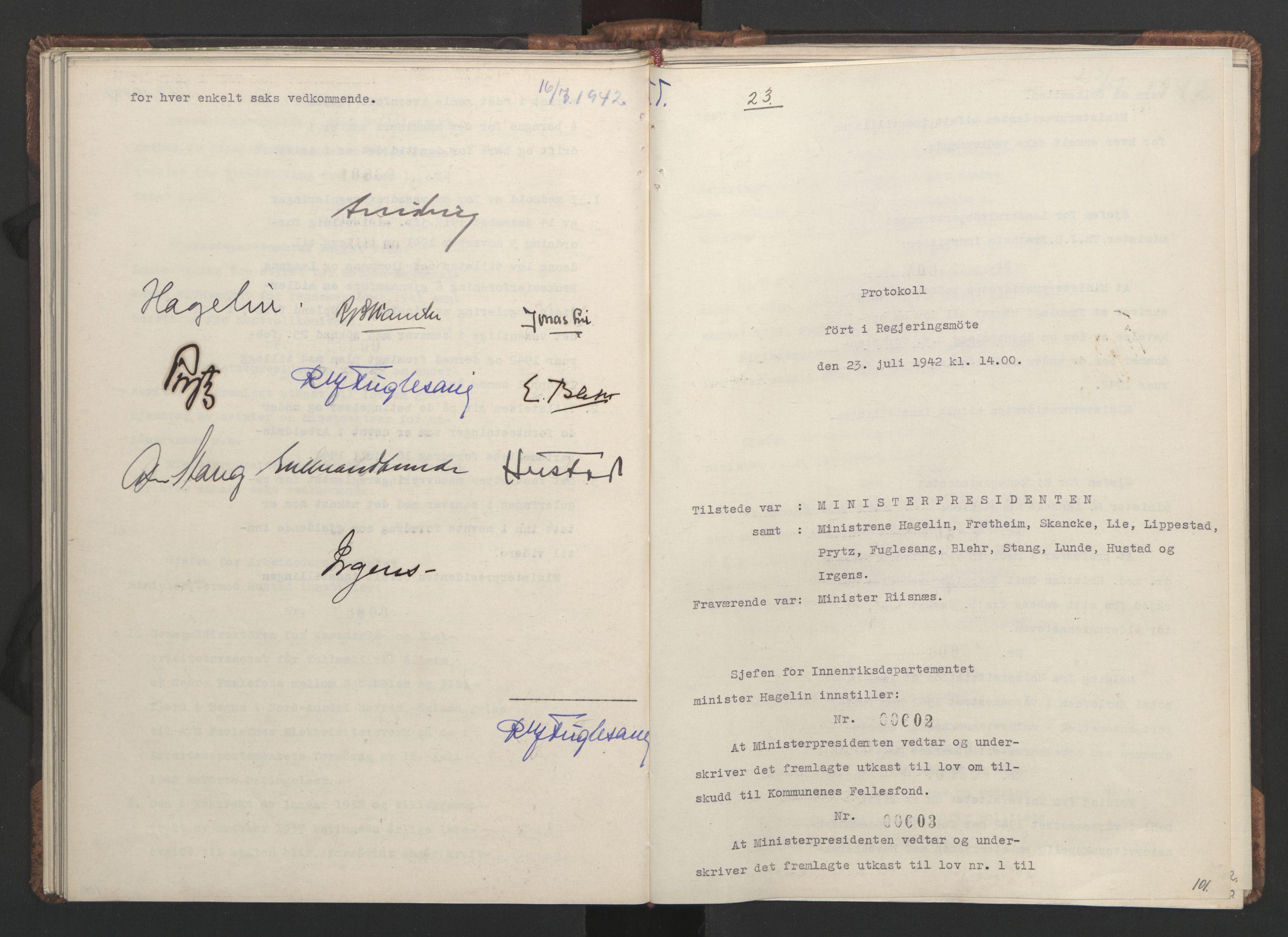 RA, NS-administrasjonen 1940-1945 (Statsrådsekretariatet, de kommisariske statsråder mm), D/Da/L0001: Beslutninger og tillegg (1-952 og 1-32), 1942, s. 100b-101a