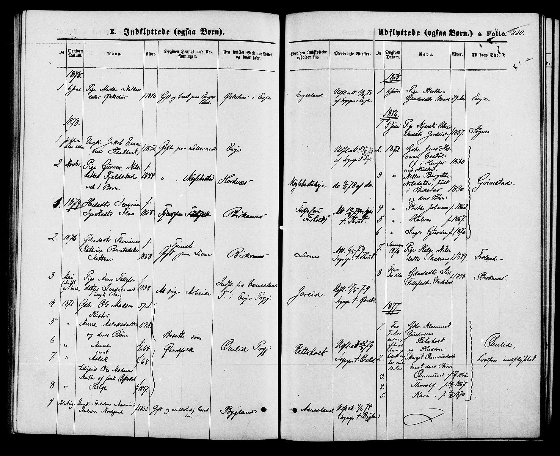 SAK, Herefoss sokneprestkontor, F/Fa/Fab/L0003: Ministerialbok nr. A 3, 1875-1886, s. 210