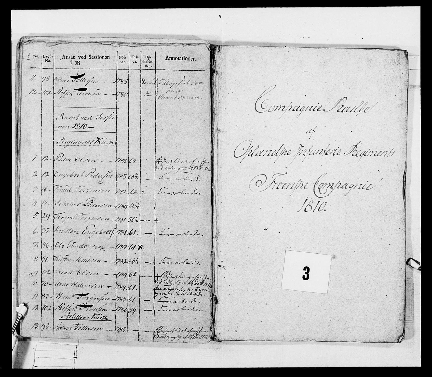 RA, Generalitets- og kommissariatskollegiet, Det kongelige norske kommissariatskollegium, E/Eh/L0069: Opplandske gevorbne infanteriregiment, 1810-1818, s. 106